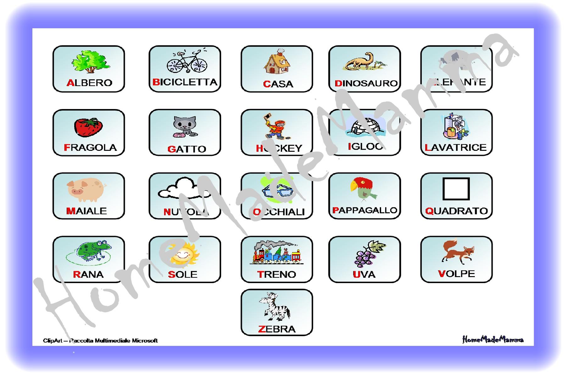Lettere Alfabeto Da Copiare a come mela: le carte per giocare con l'alfabeto