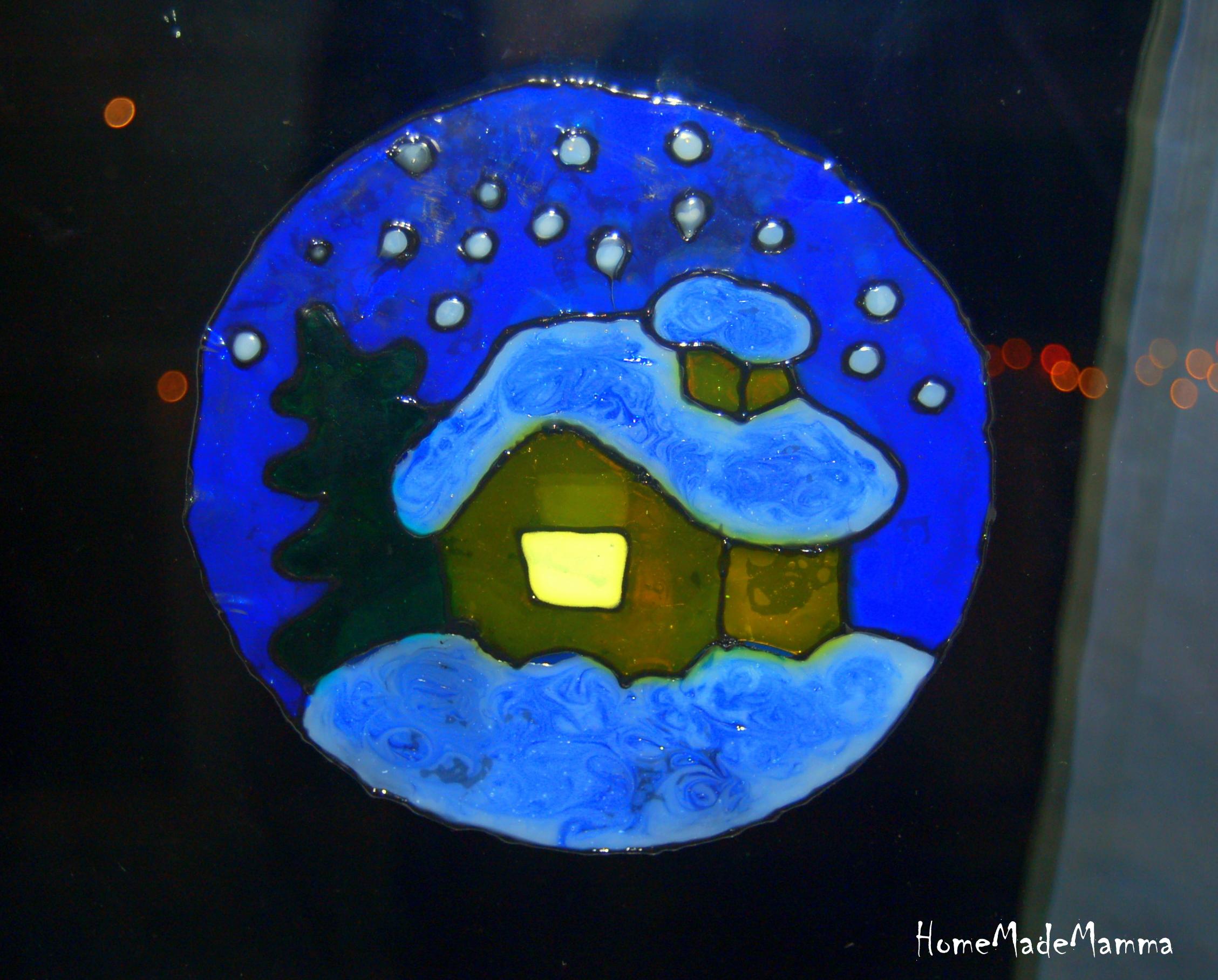 Casetta Di Natale Da Colorare : Alberelli candele renne vetrofanie natalizie fai da te