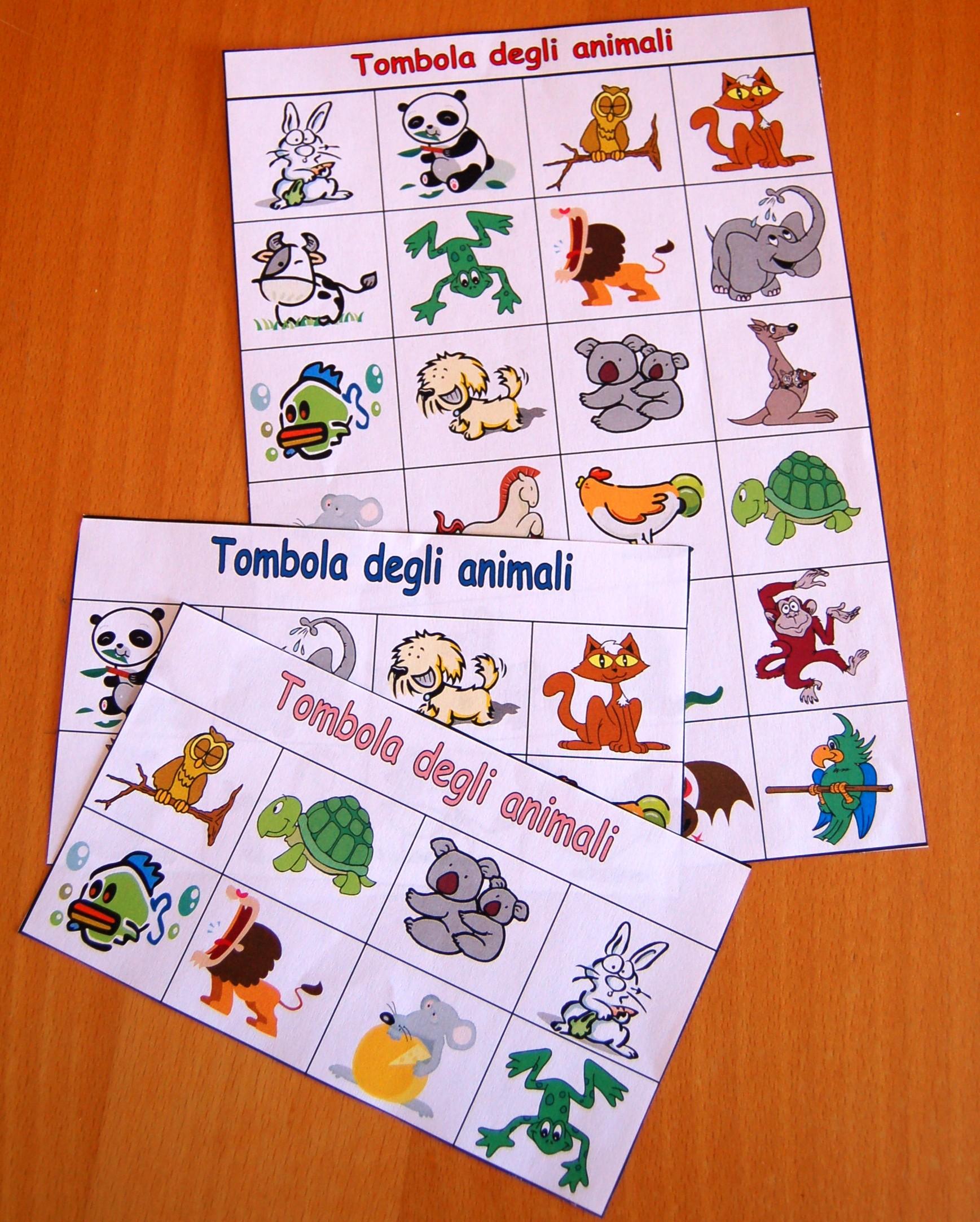 tombola animali da stampare e scaricare gratis tombola On tombola da stampare gratis per bambini