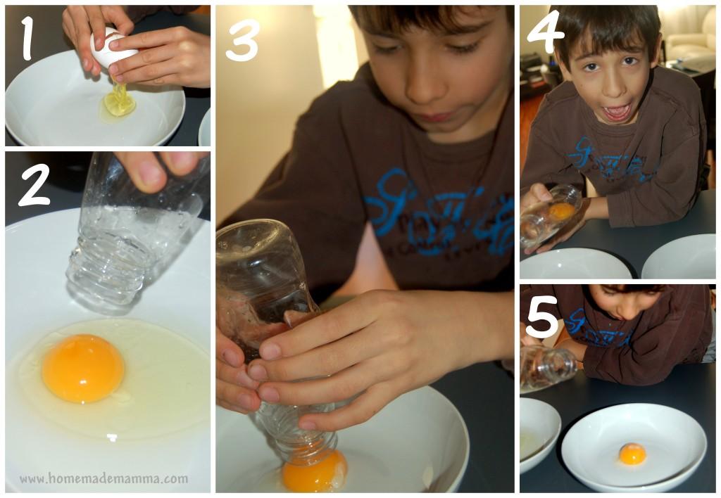 esperimenti scentifici con i bambini uovo e pressione