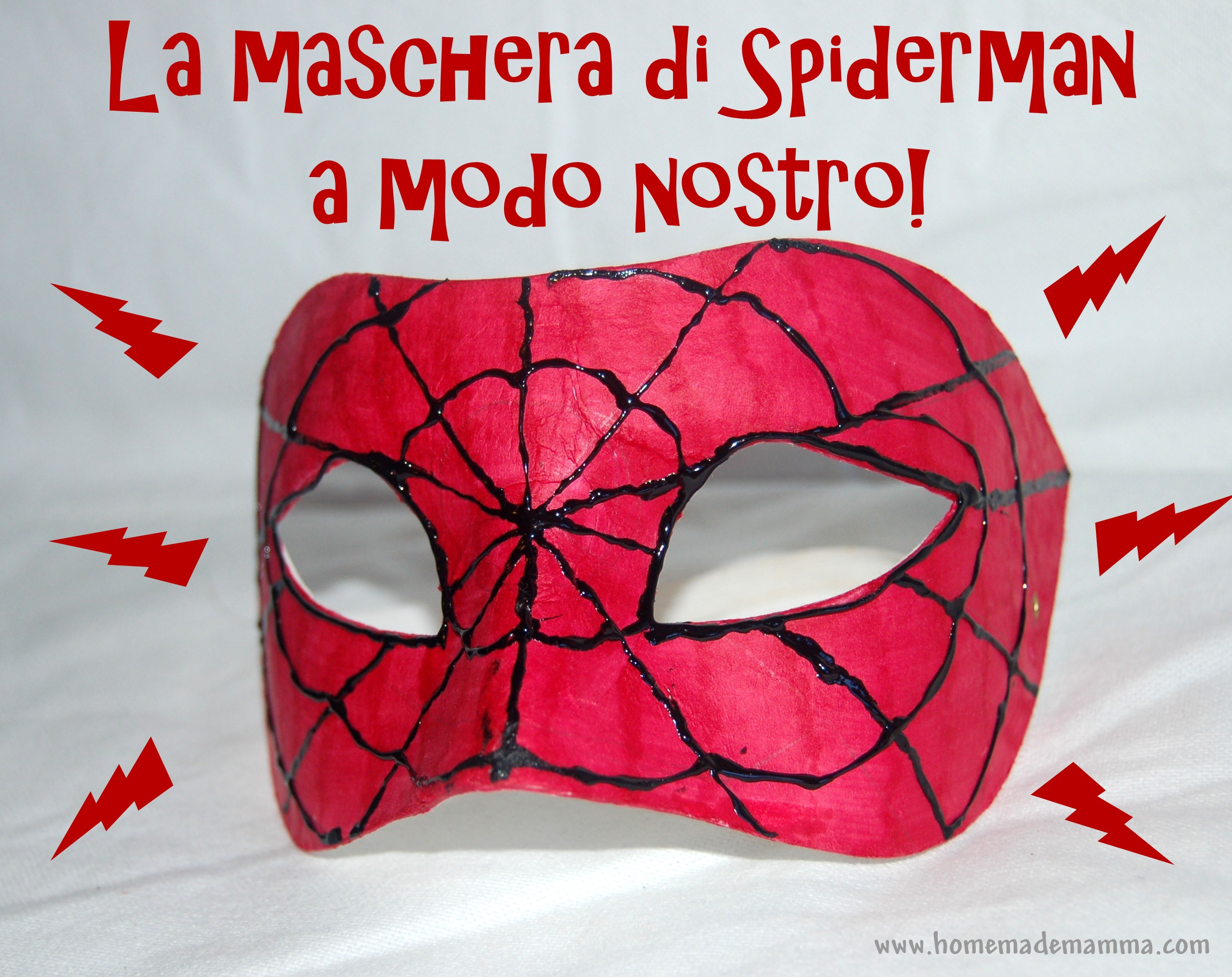 La maschera di spiderman a modo nostro for Maschere da colorare spiderman