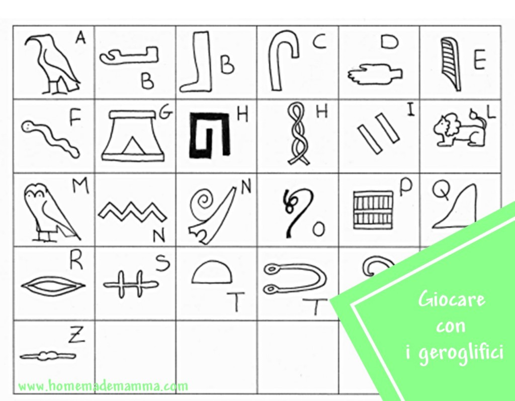 geroglifici alfabeto da stampare