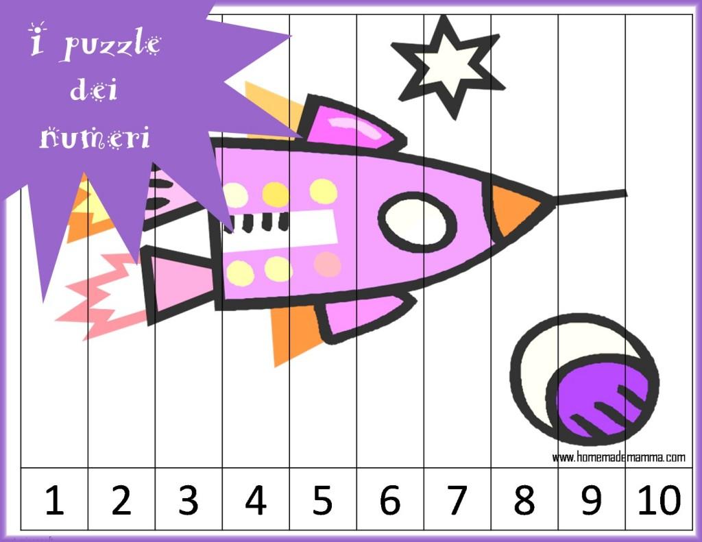 puzzle per imparare i numeri da stampare gratis