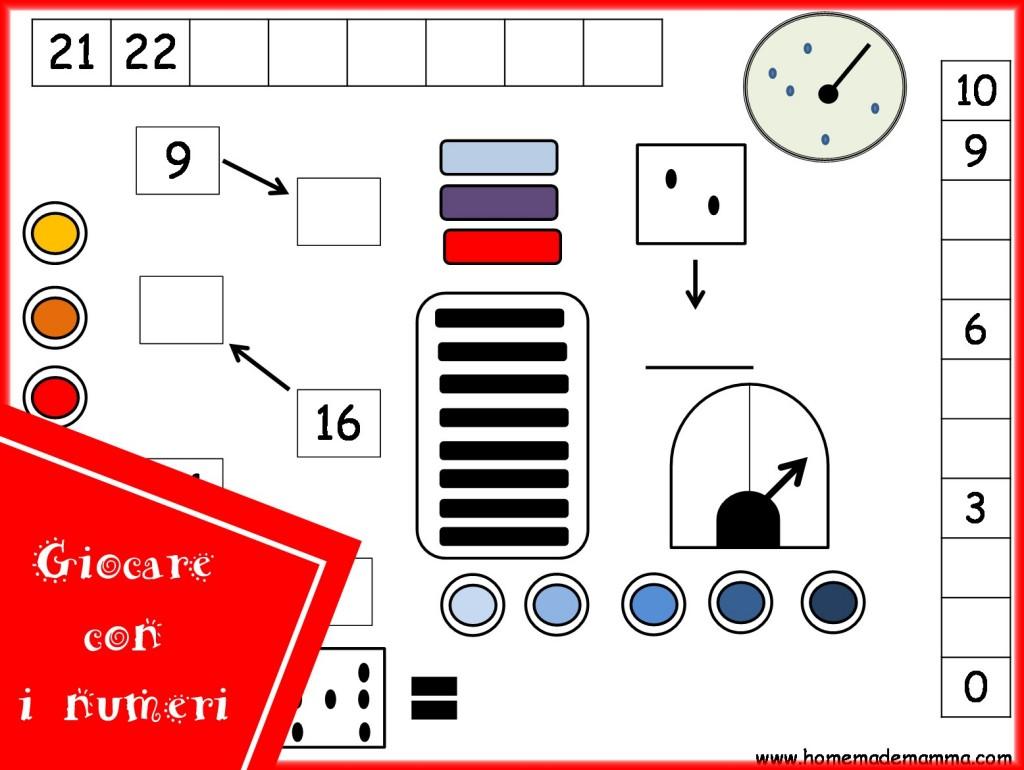 schede gioco per imparare i numeri e operazioni