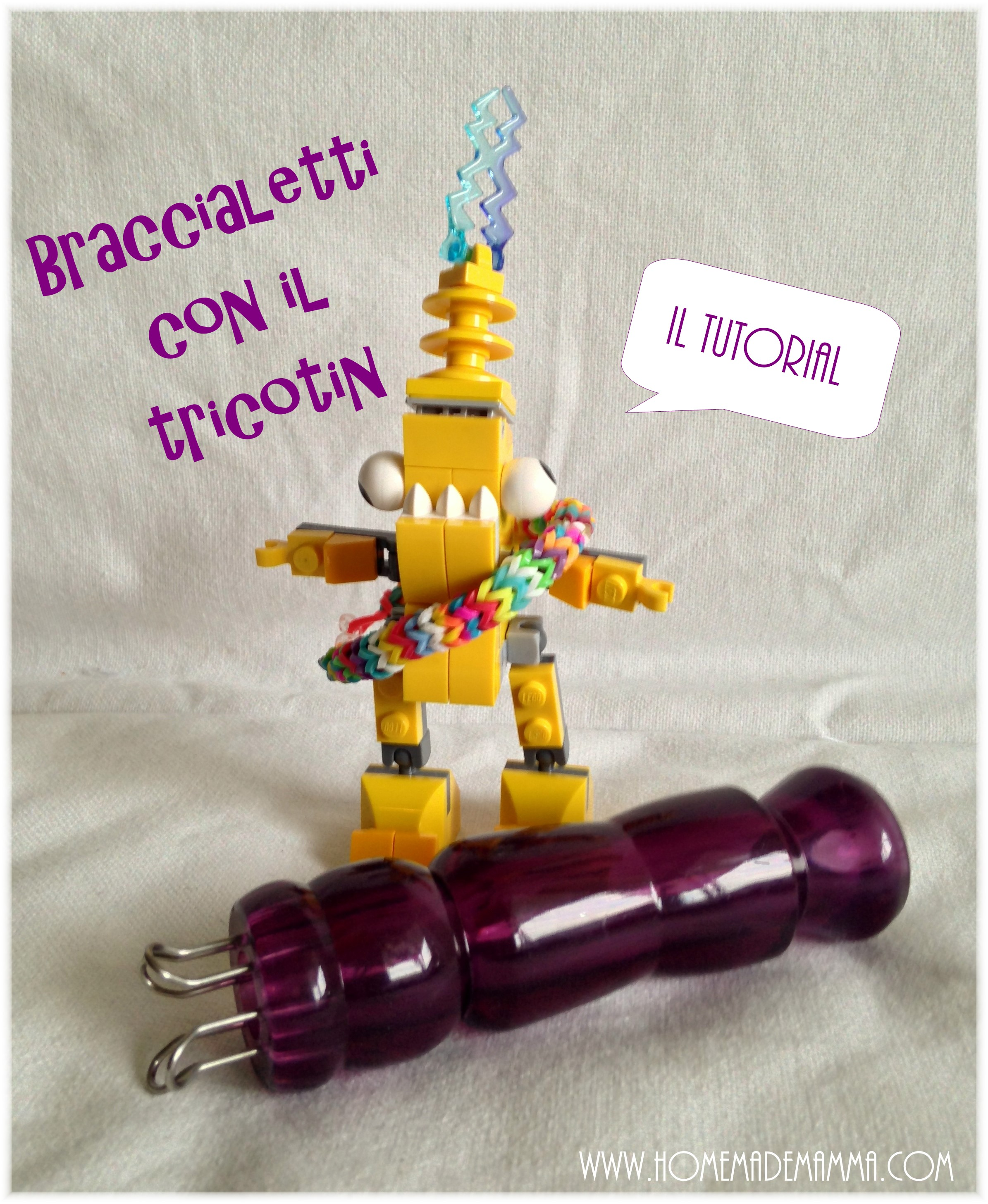 braccialetti elastici loom bands con tricotin tutorial