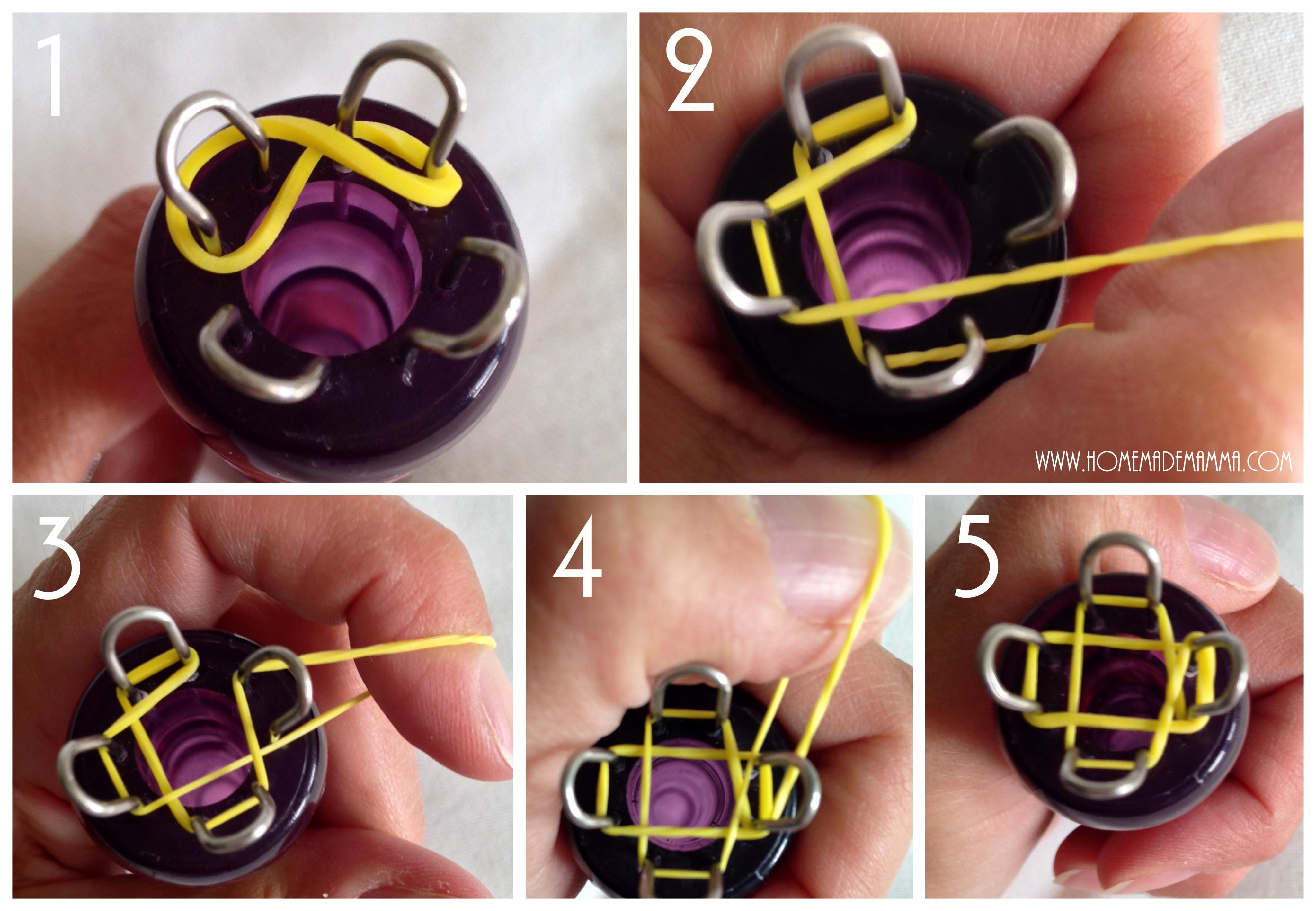 braccialetti elastici loom bands tutorial con tricotin