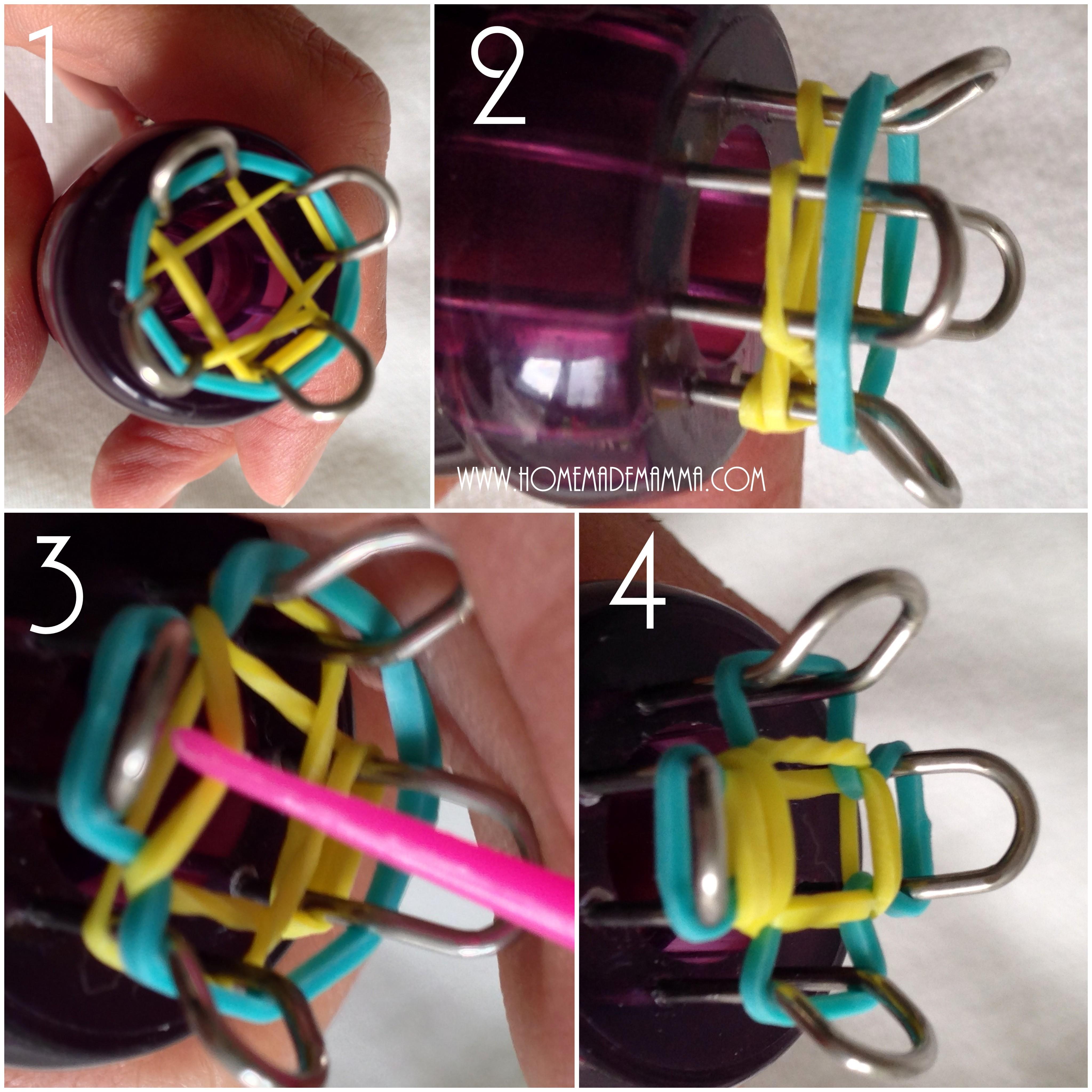 tutorial braccialetti elastici loom bands con tricotin