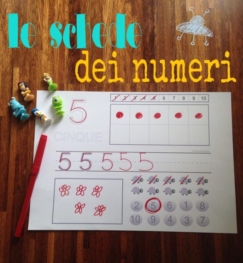 schede gratis per imparare numeri e quantità