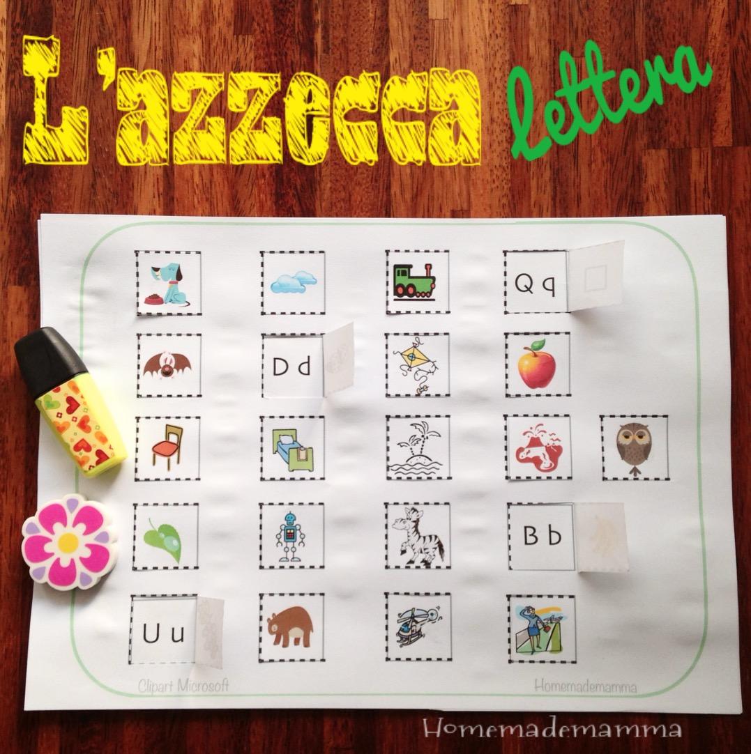 schede gioco per imparare l'alfabeto