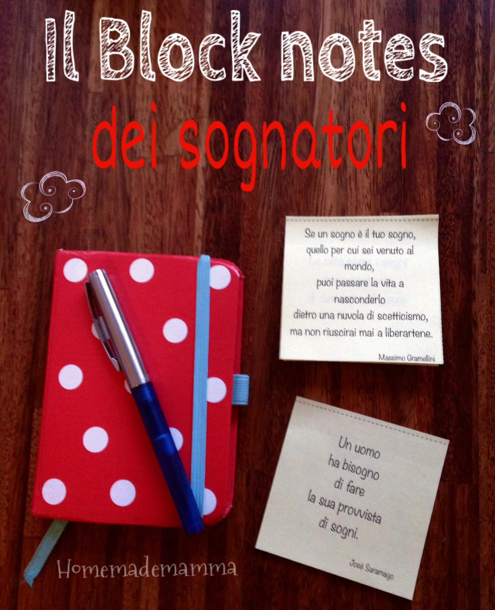 block notes fai date con frasi celebri