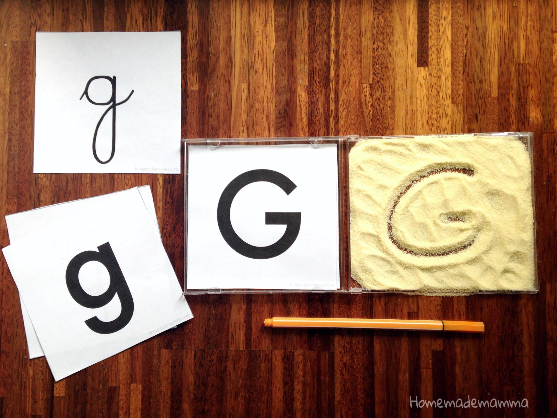 schede alfabeto da stampare per scrivere sulla farina o sabbia