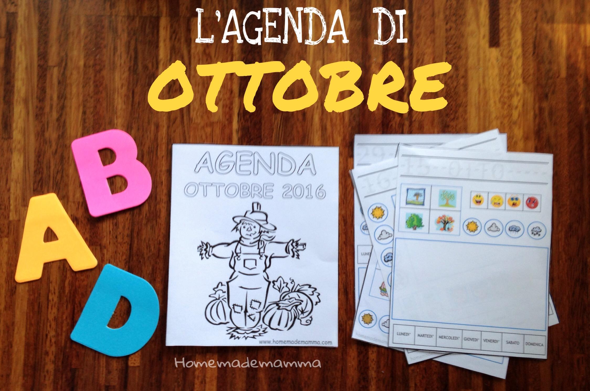 agenda diario per bambini da stampare ottobre