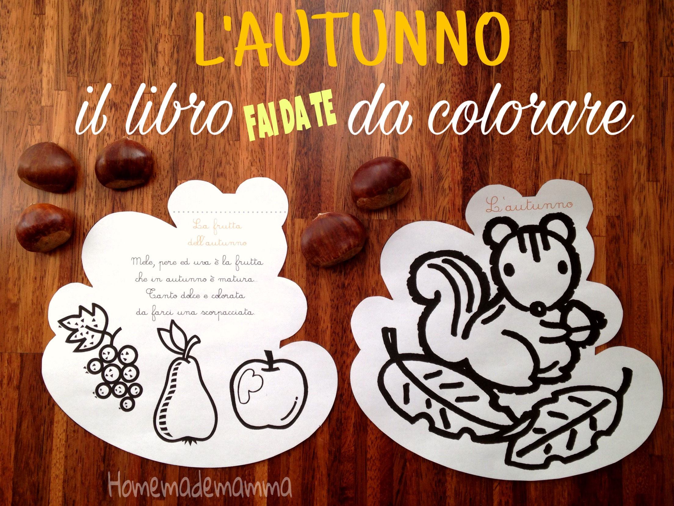 libro stampare filastrocche e disegni da colorare autunno