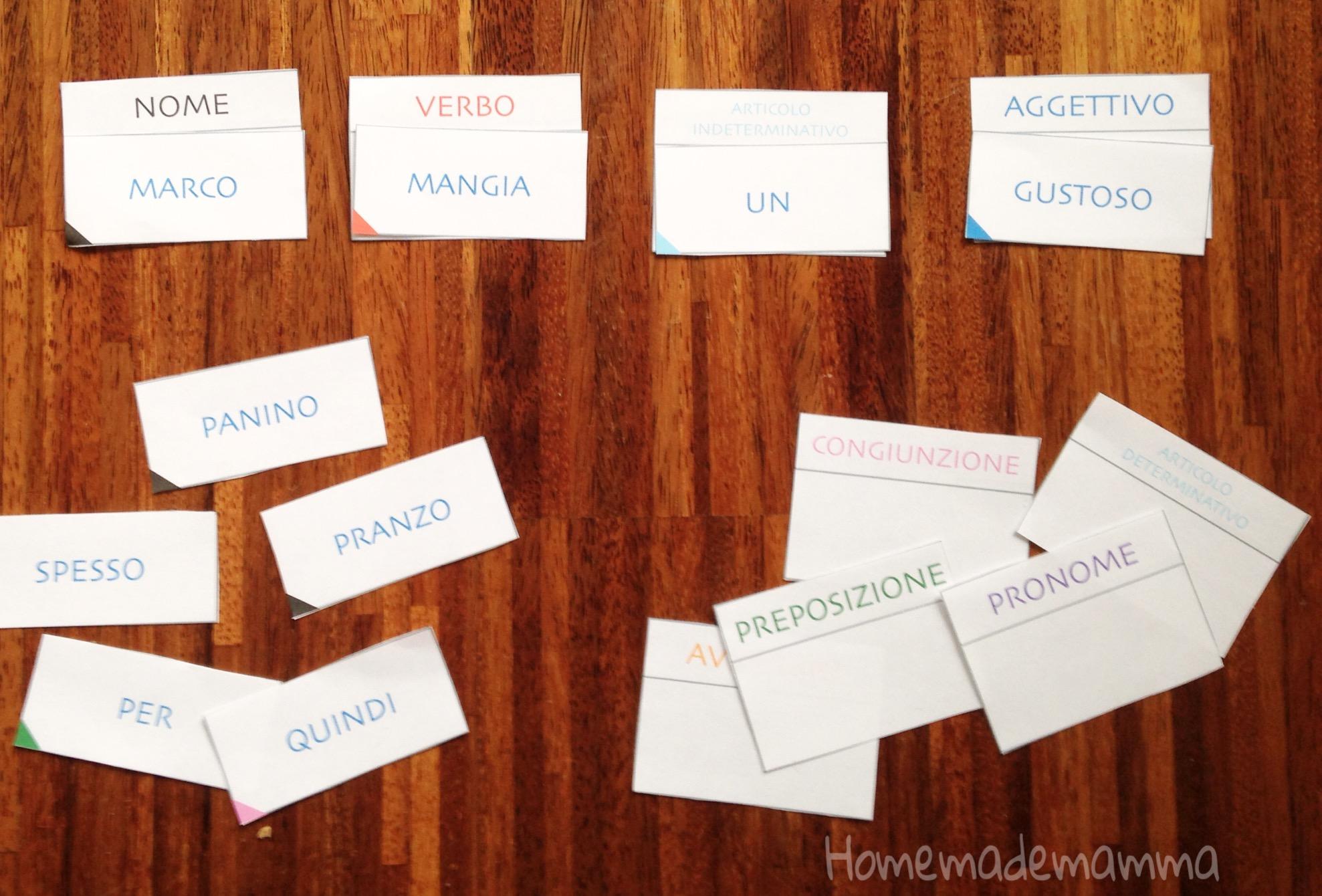 giochi grammatica da stampare