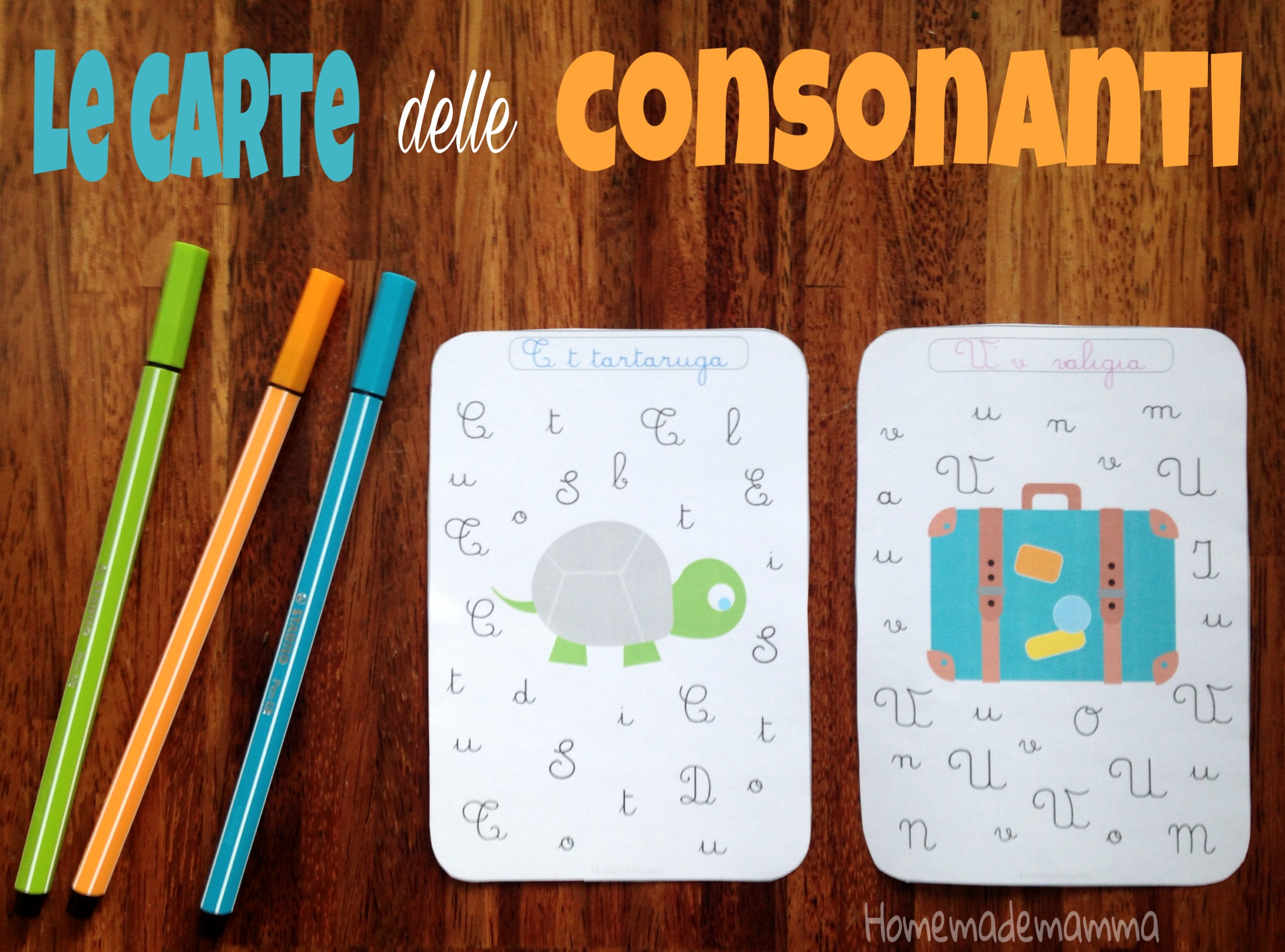 carte consonanti corsivo homemademamma
