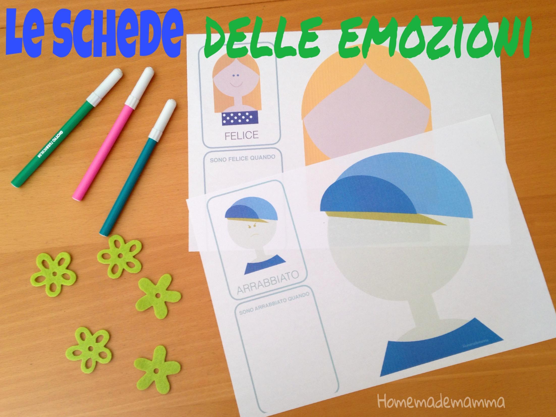 schede emozioni bambini da stampare