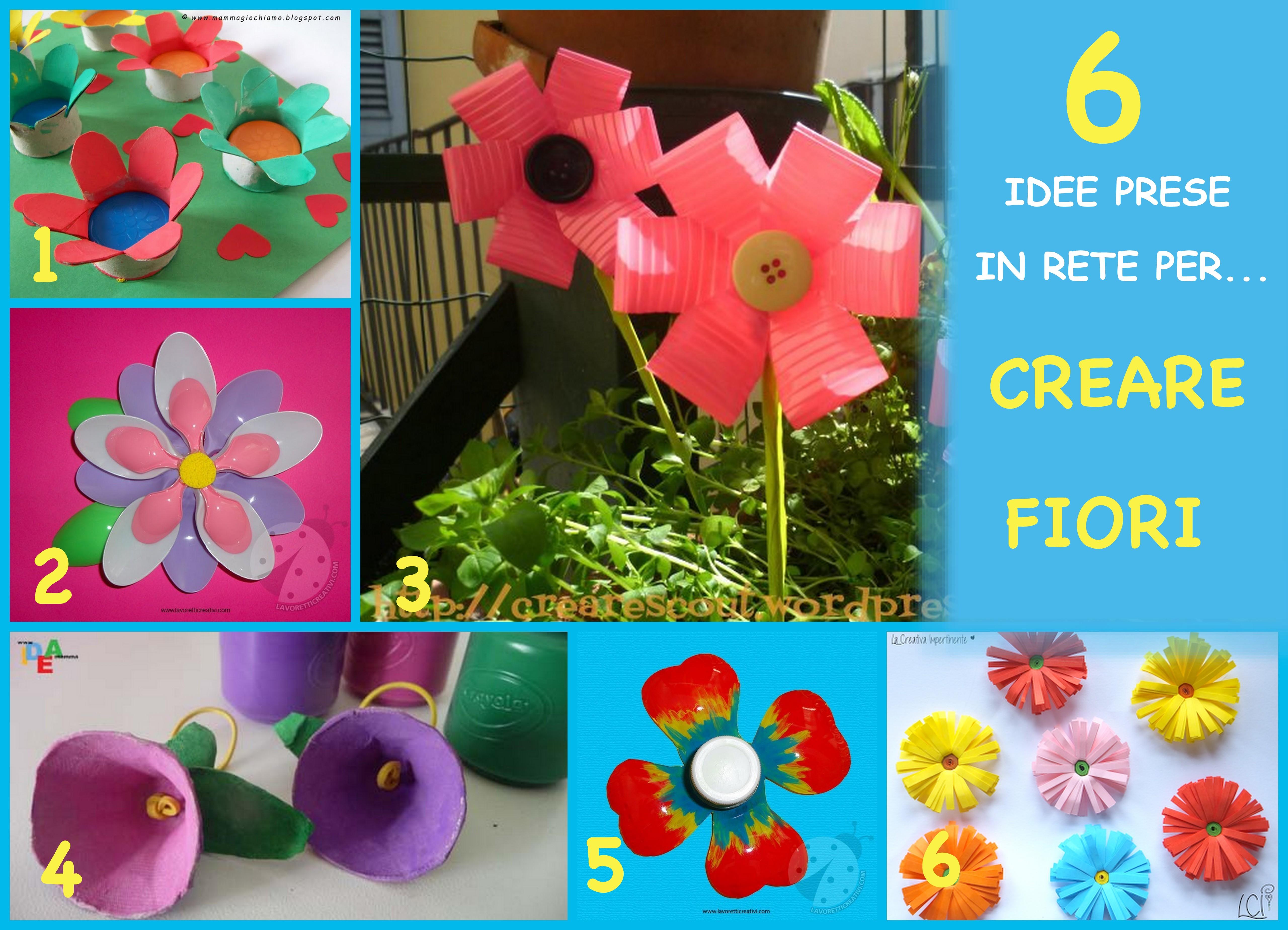 creare fiori con tappi, cartone, carta e bottiglie