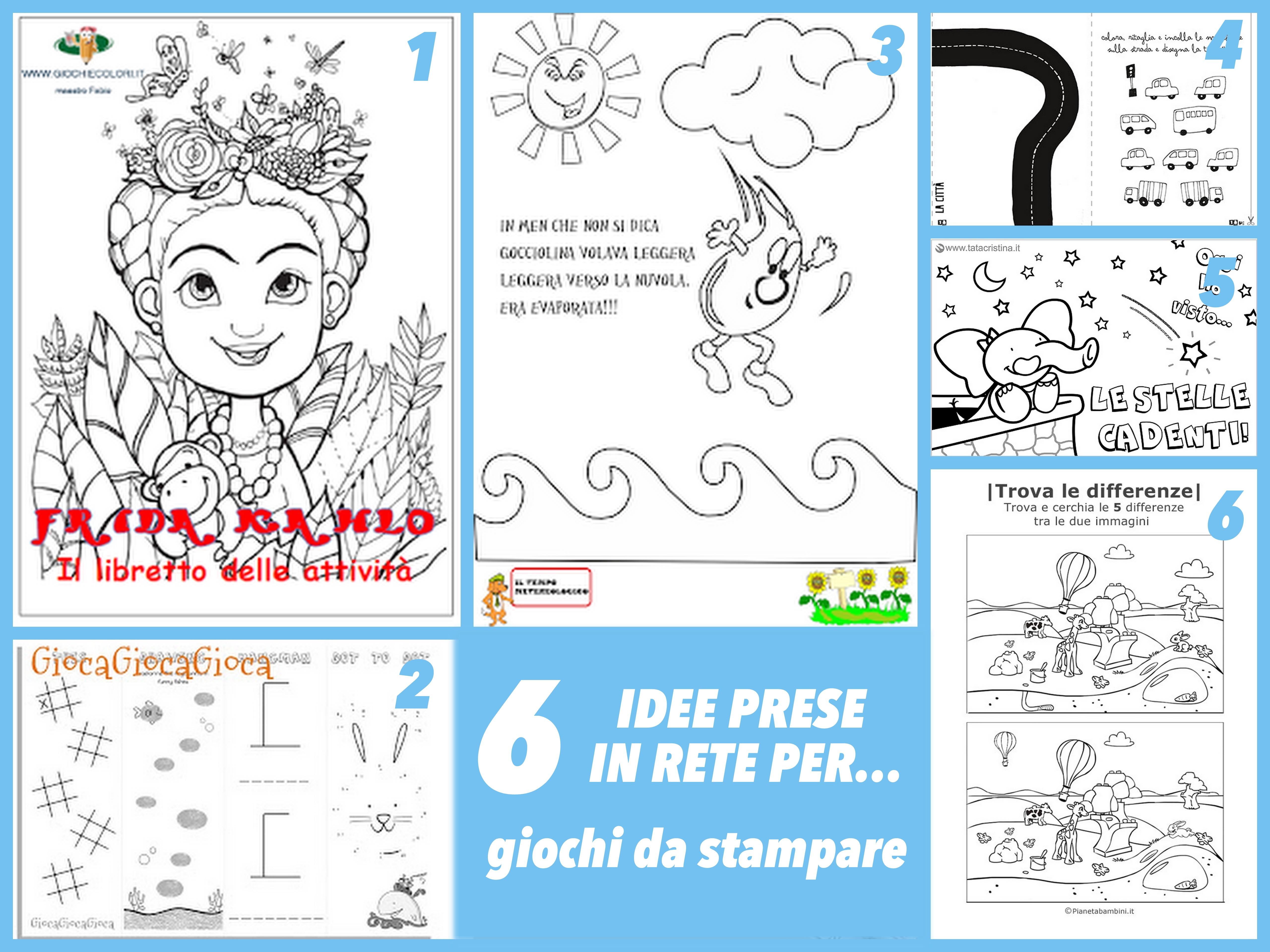 6 idee per giochi bambini da stampare