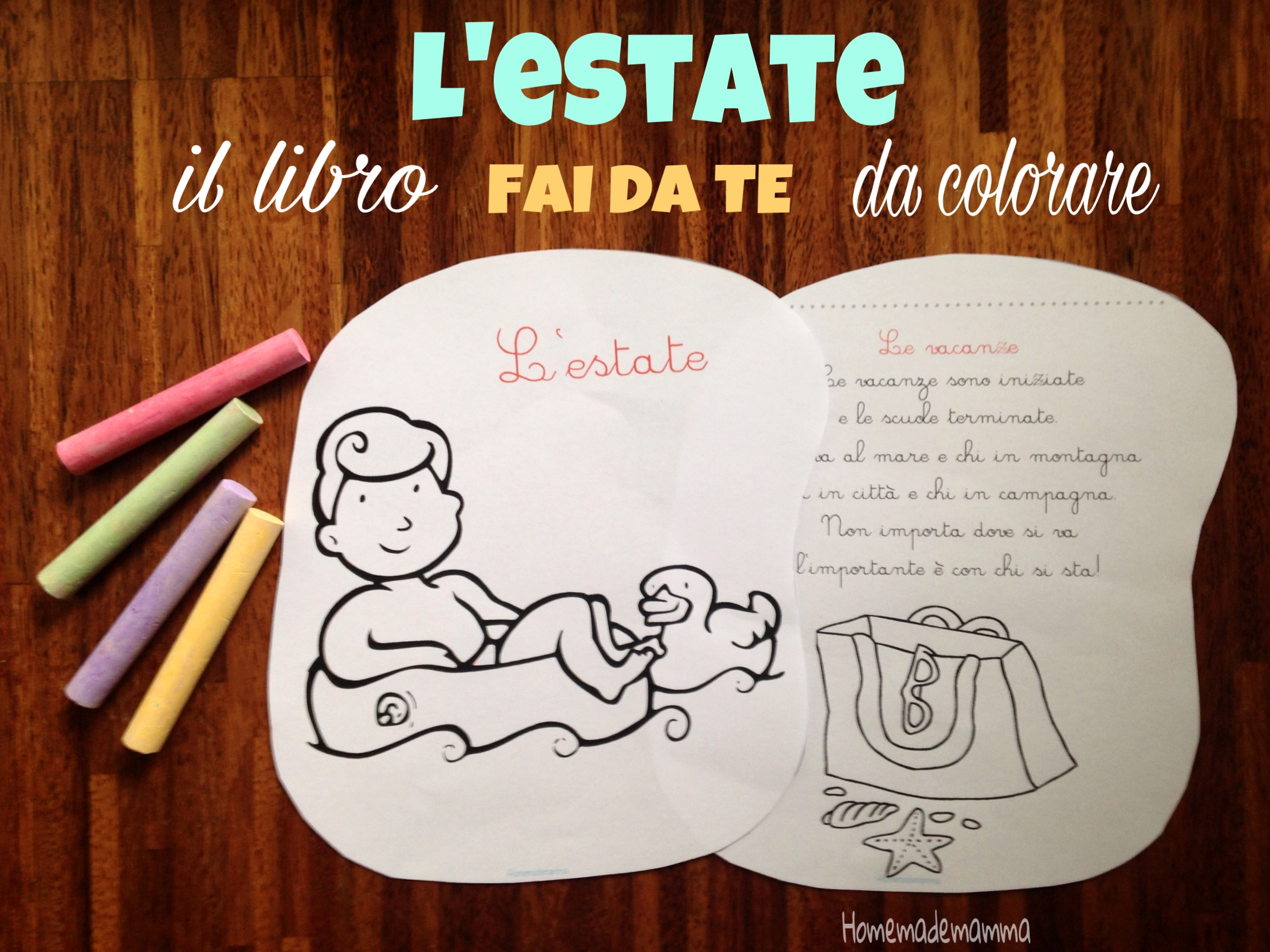 L estate il libro filastrocca da colorare for Disegni da colorare estate
