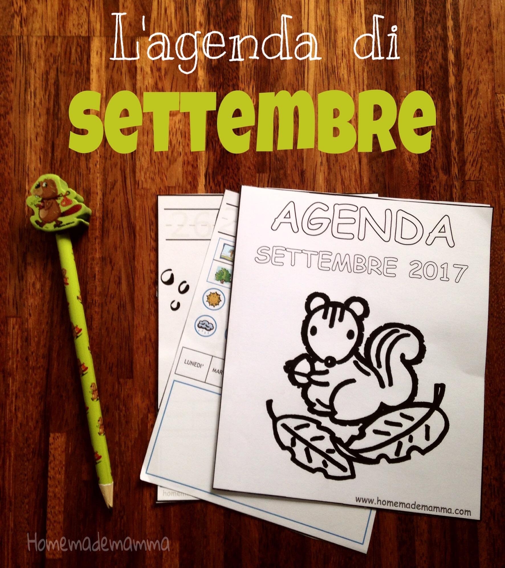 agenda settembre 2017 per bambini da stampare