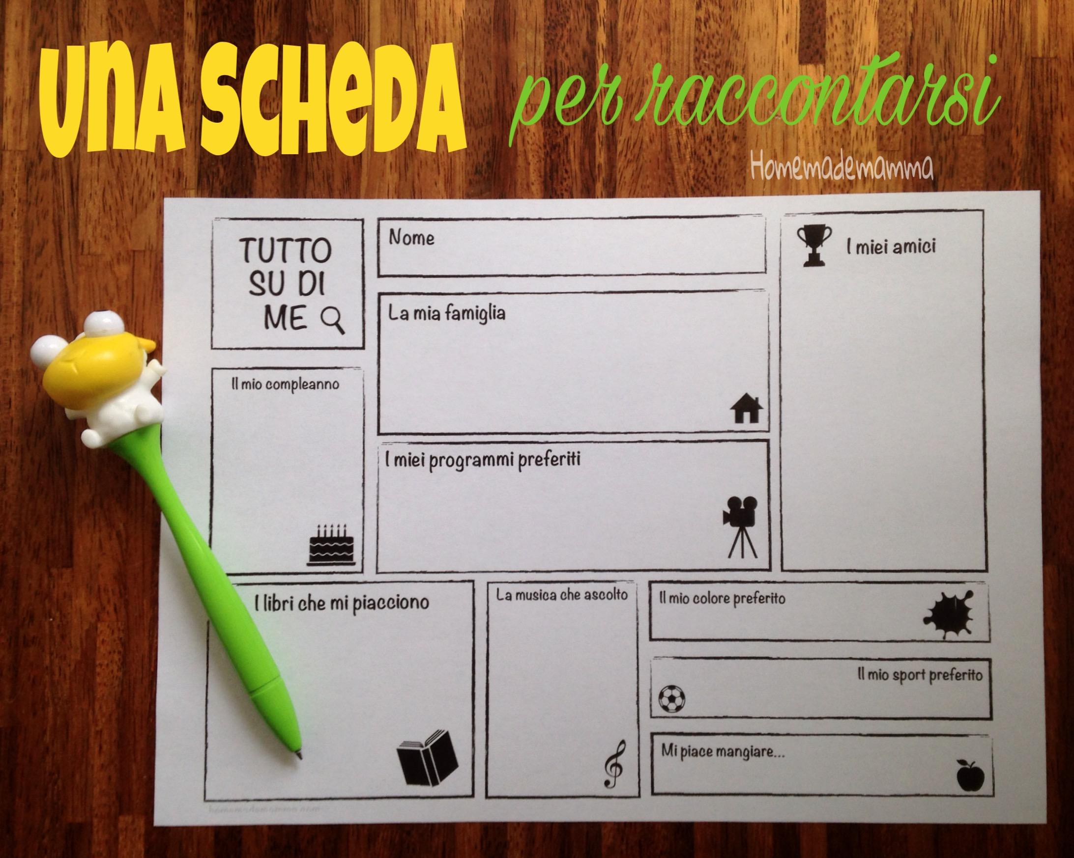 scheda presentazione per primi giorni di scuola