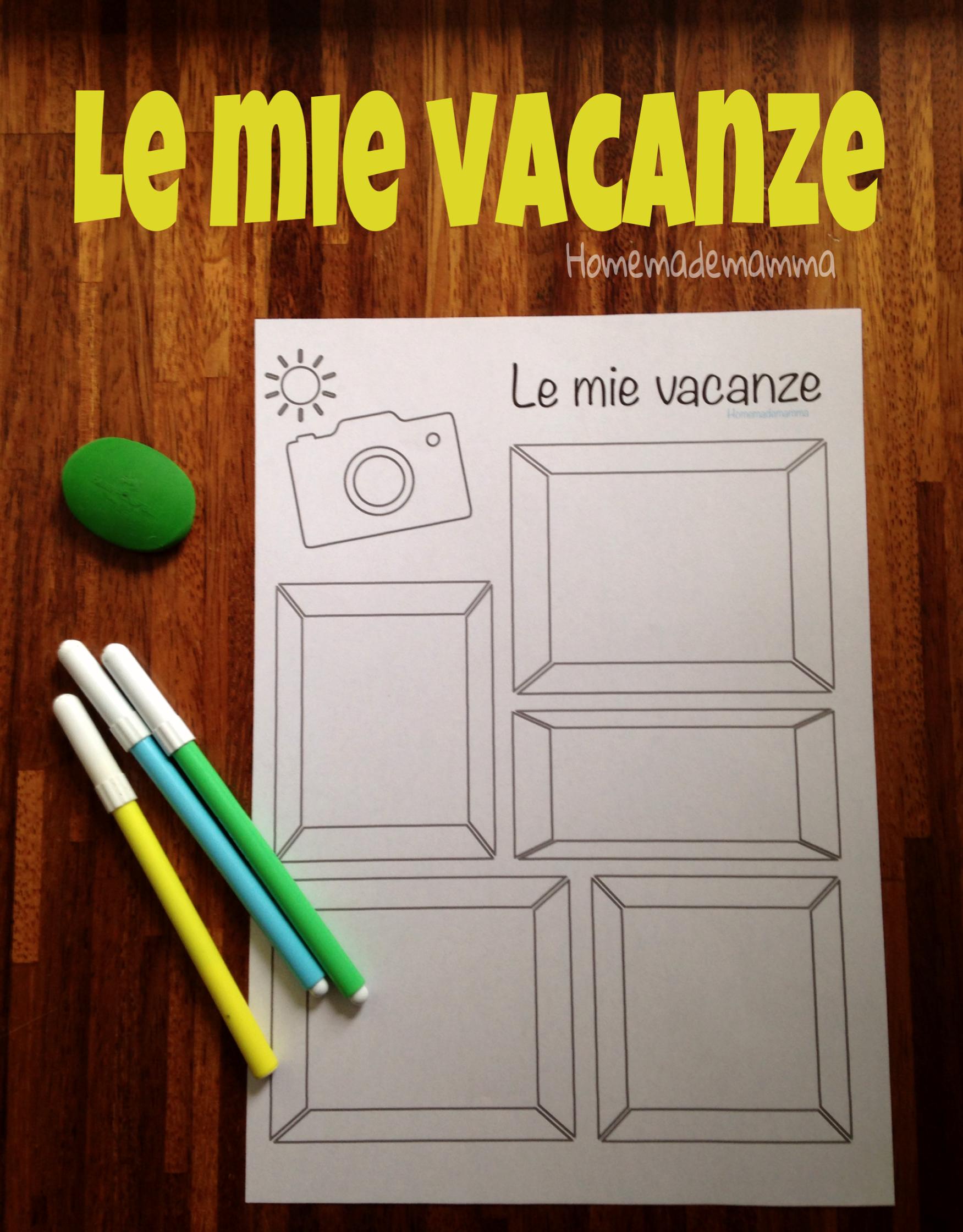 scheda per raccontare vacanze bambini homemademamma