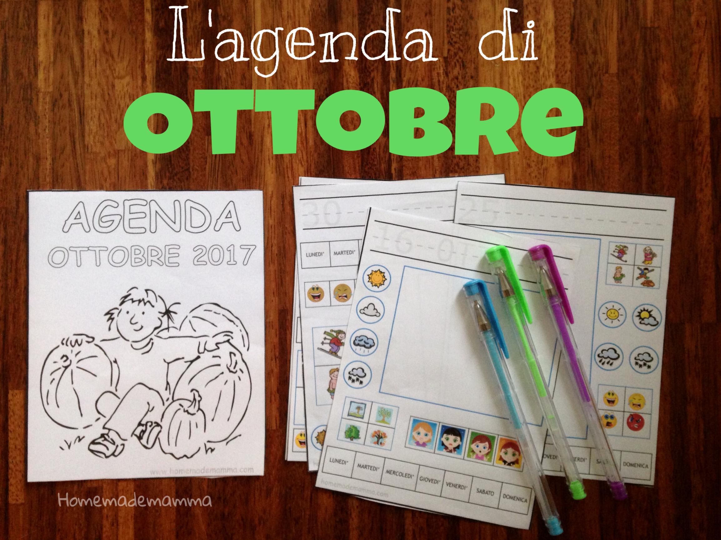 agenda da stampare ottobre 2017 bambini