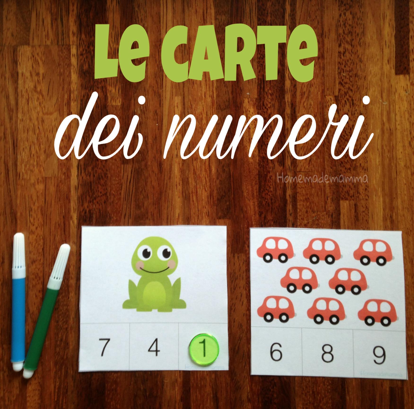 le carte dei numeri per imparare le quantità