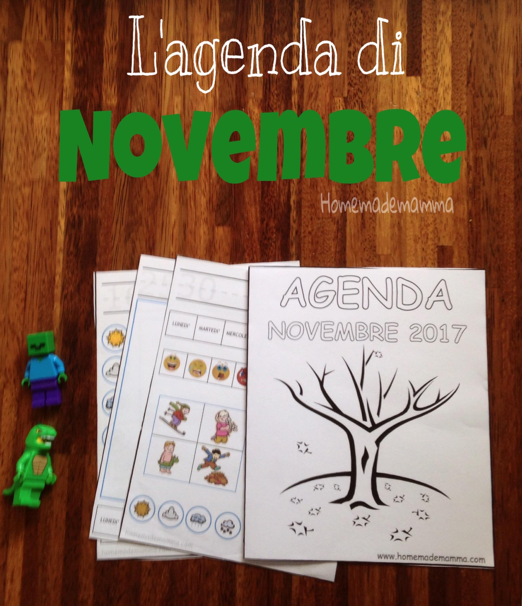 agenda novembre bambini da stampare