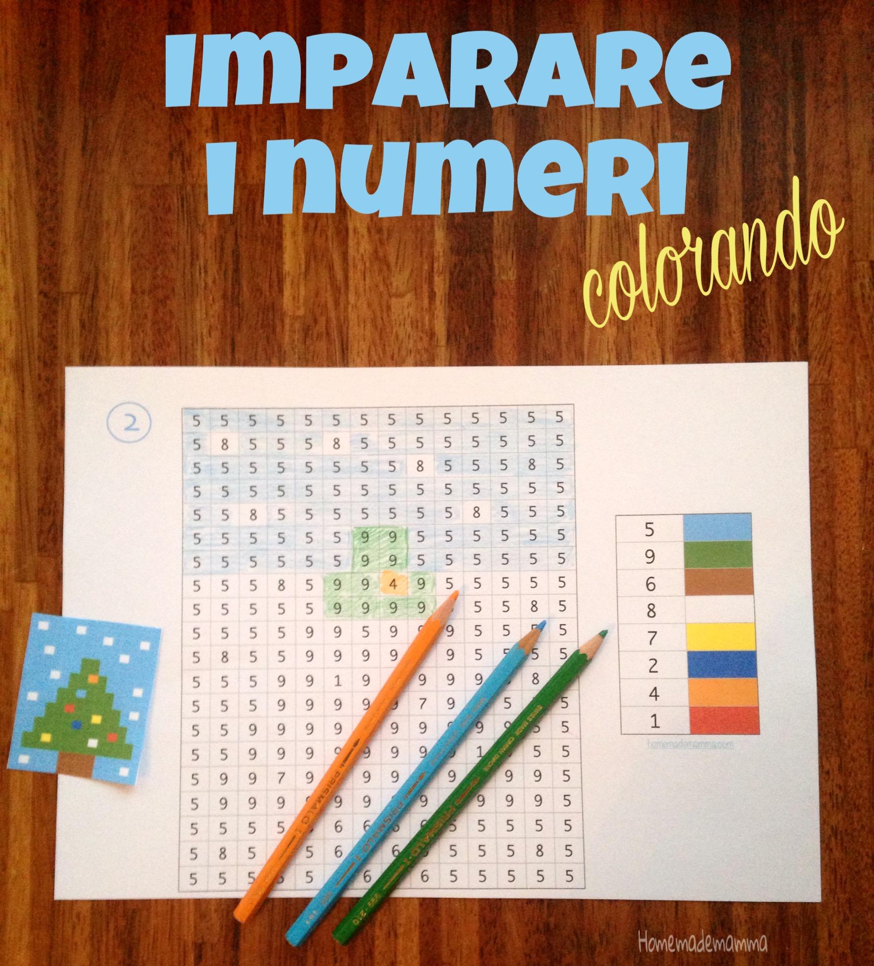 disegni natale per imparare i numeri