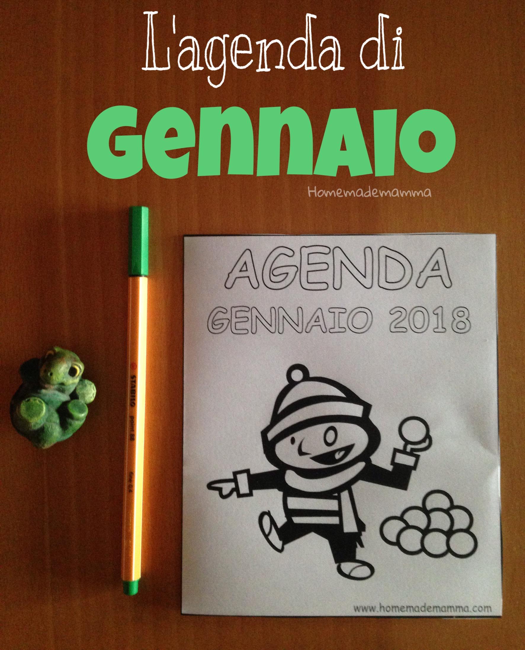 agenda gennaio 2018 per bambini da stampare