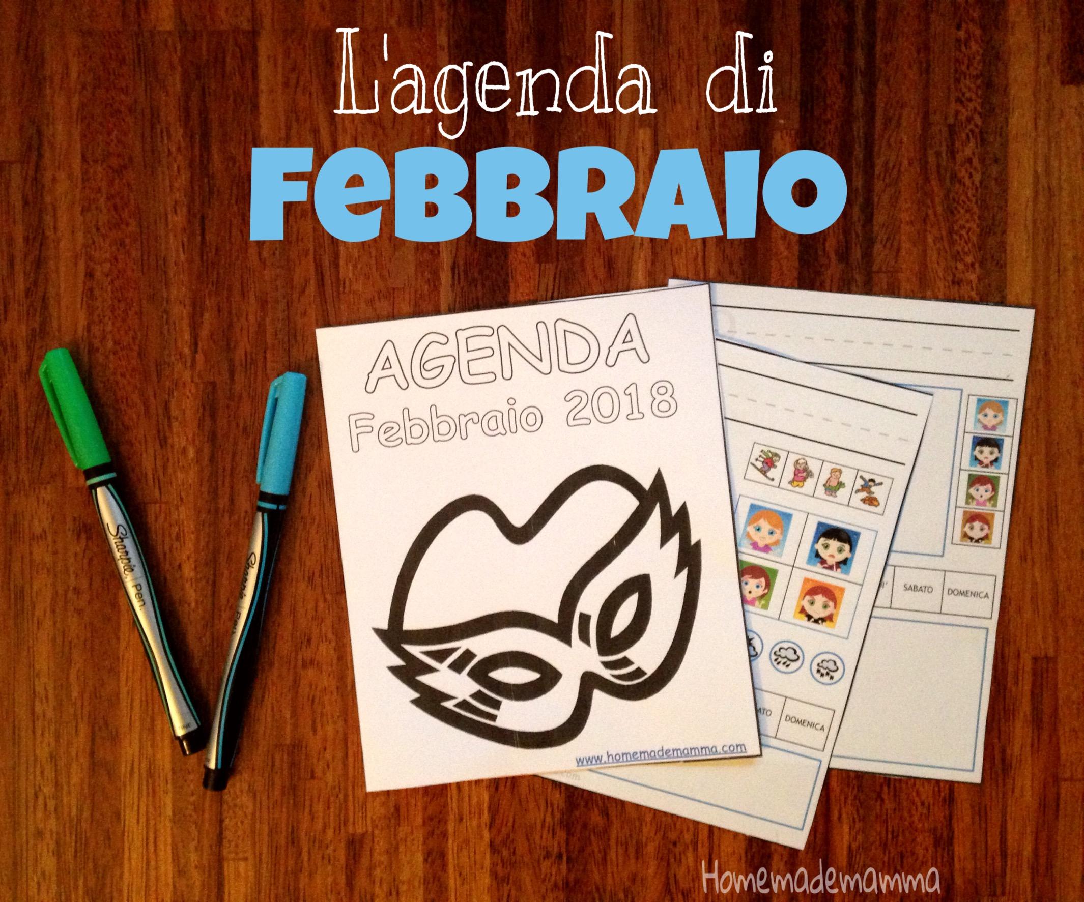 agenda febbraio bambini da stampare