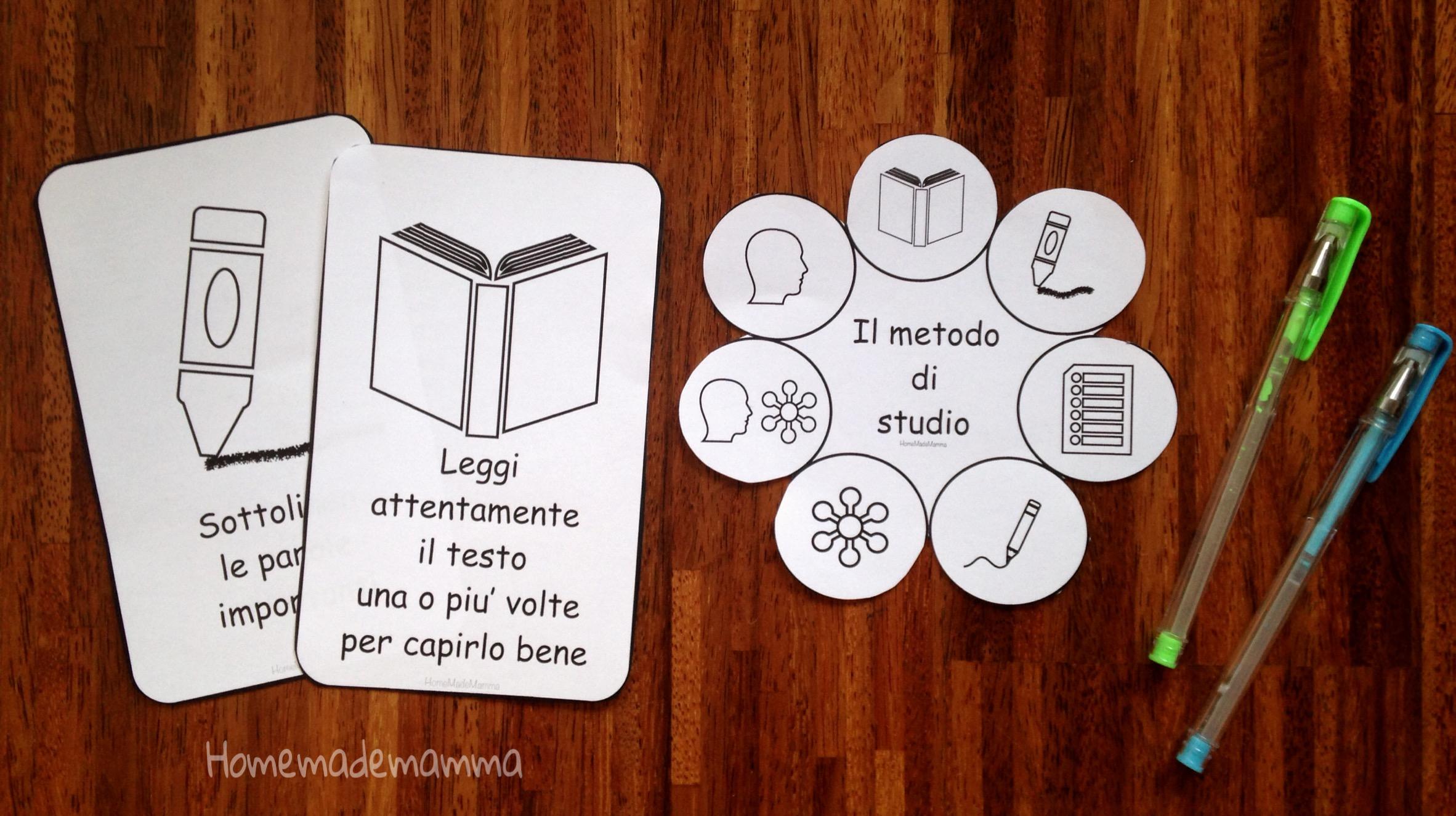 metodo di studio bambini carte da stampare