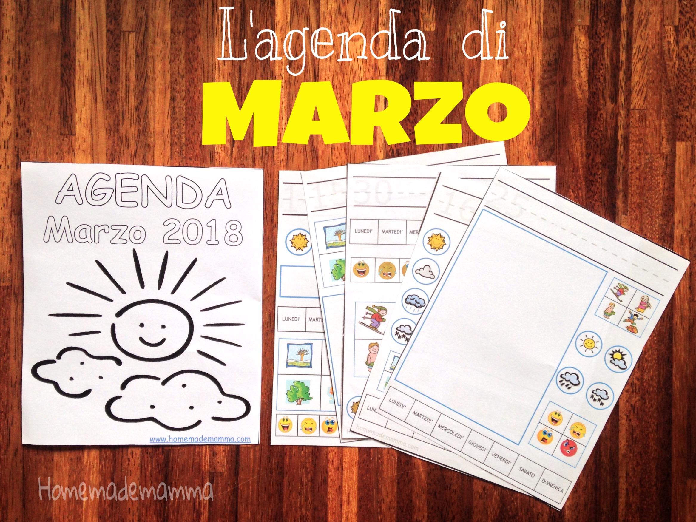 agenda mensile marzo 2018 bambini da stampare gratis