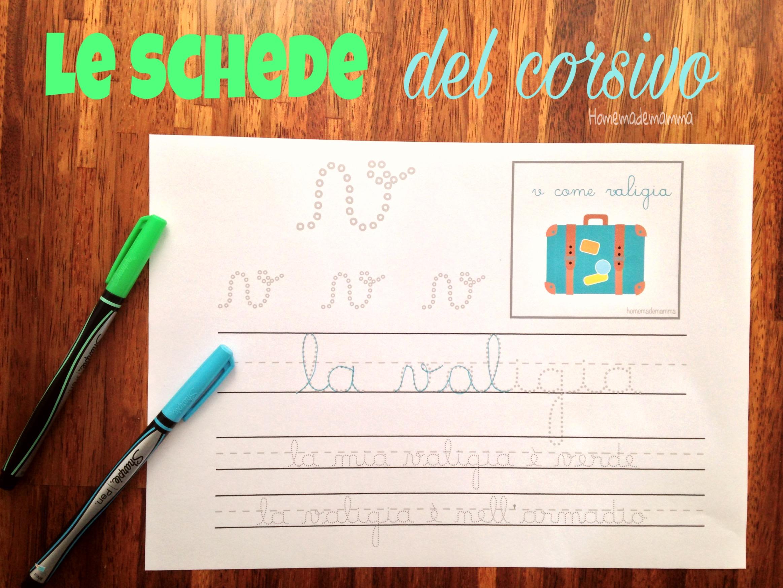schede per imparare a scrivere in corisvo