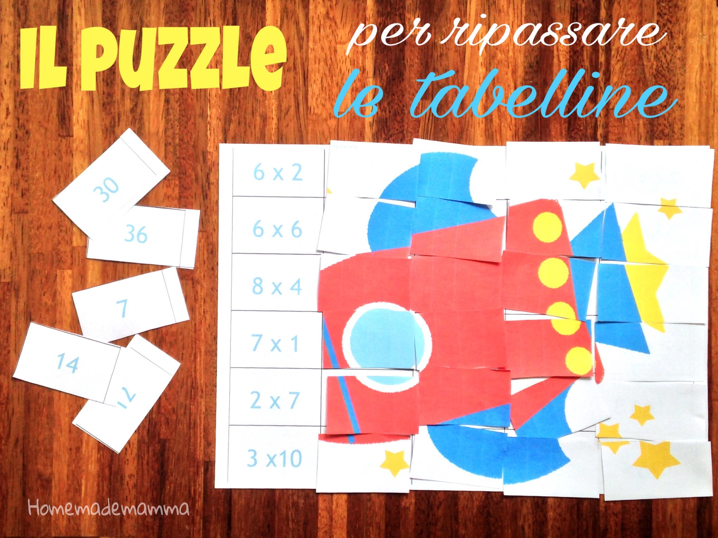 puzzle per ripassare le tabelline