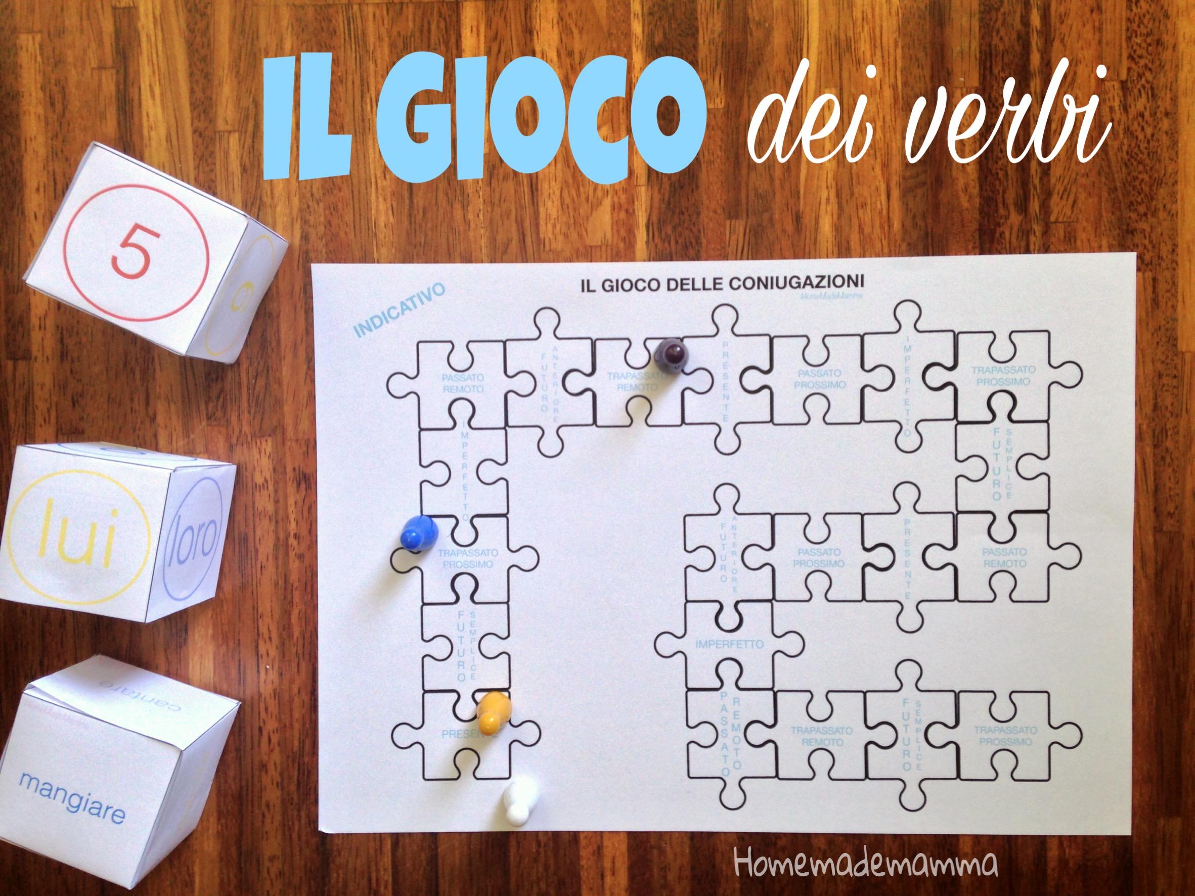 gioco per coniugare i verbi italiani da stampare