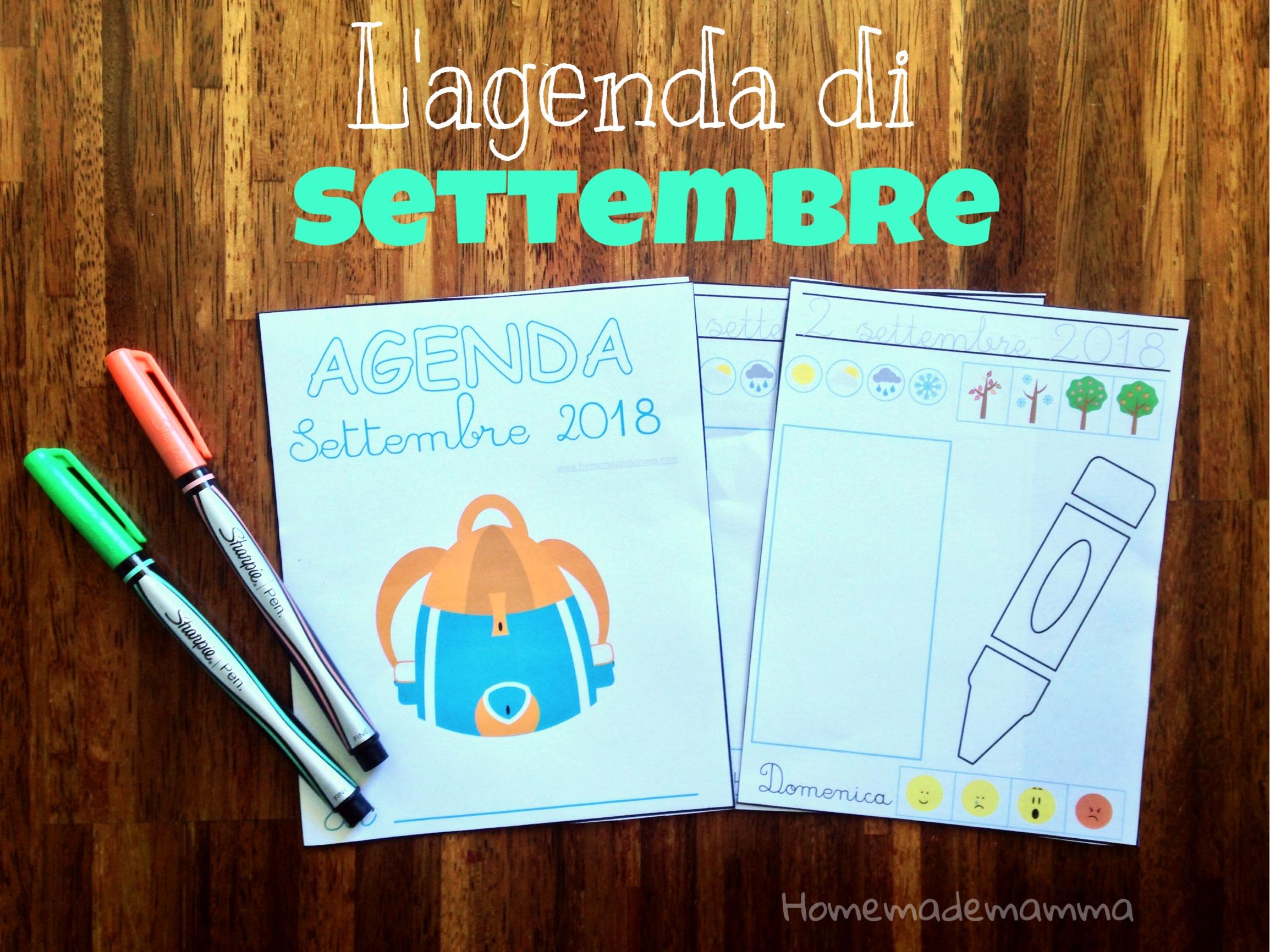 agenda settembre bambini da stampare