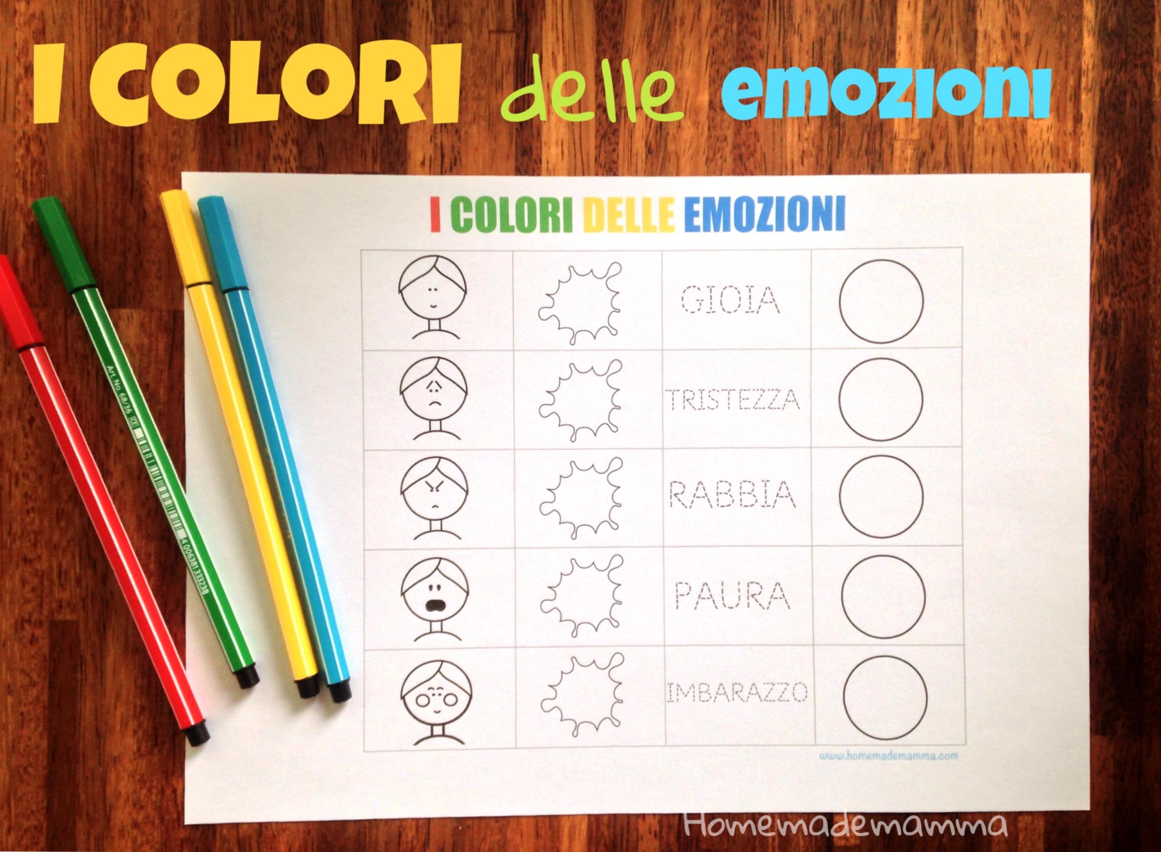 scheda i colori delle emozioni