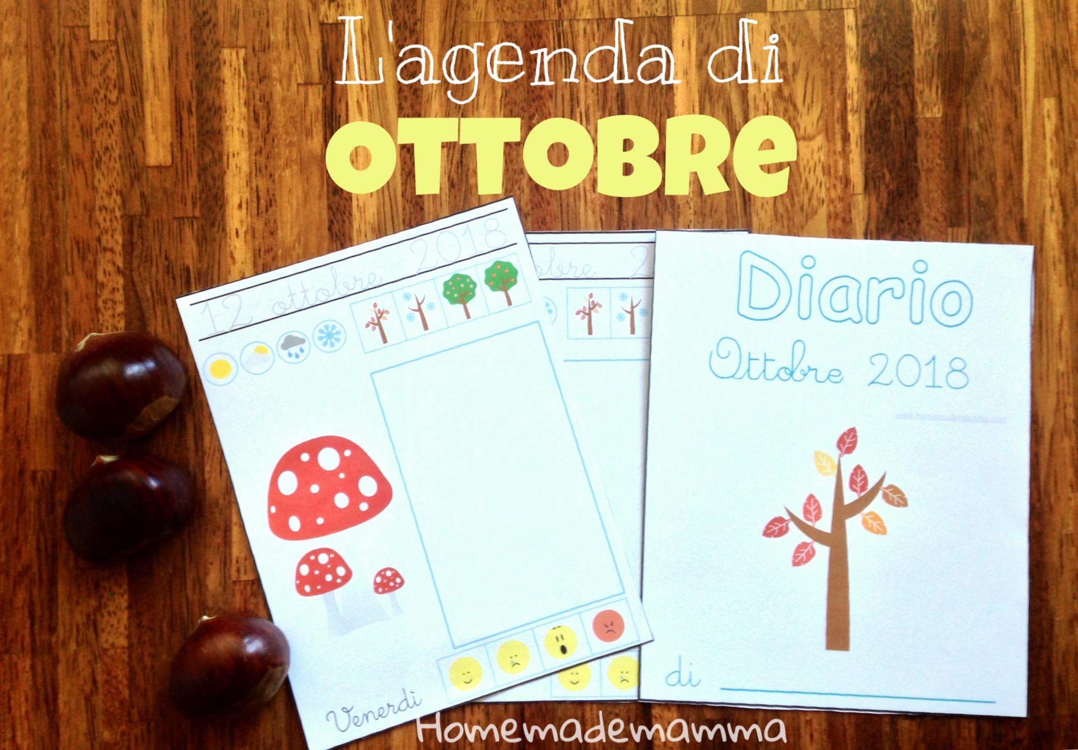 agenda ottobre 2018 da stampare bambini