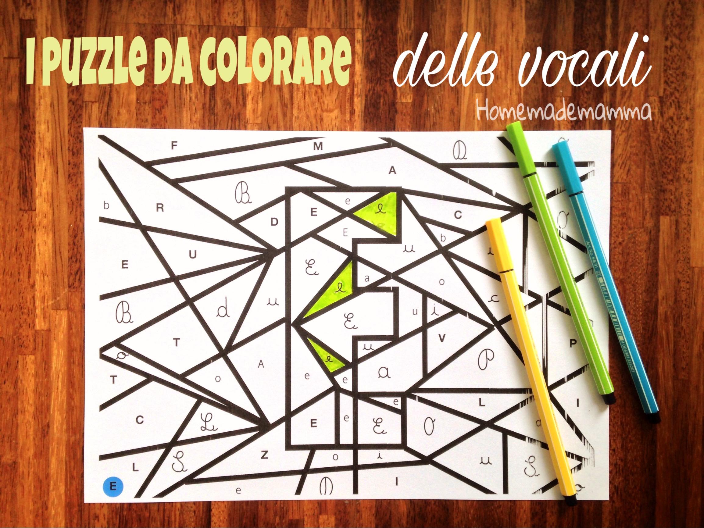 puzzle delle vocali da colorare