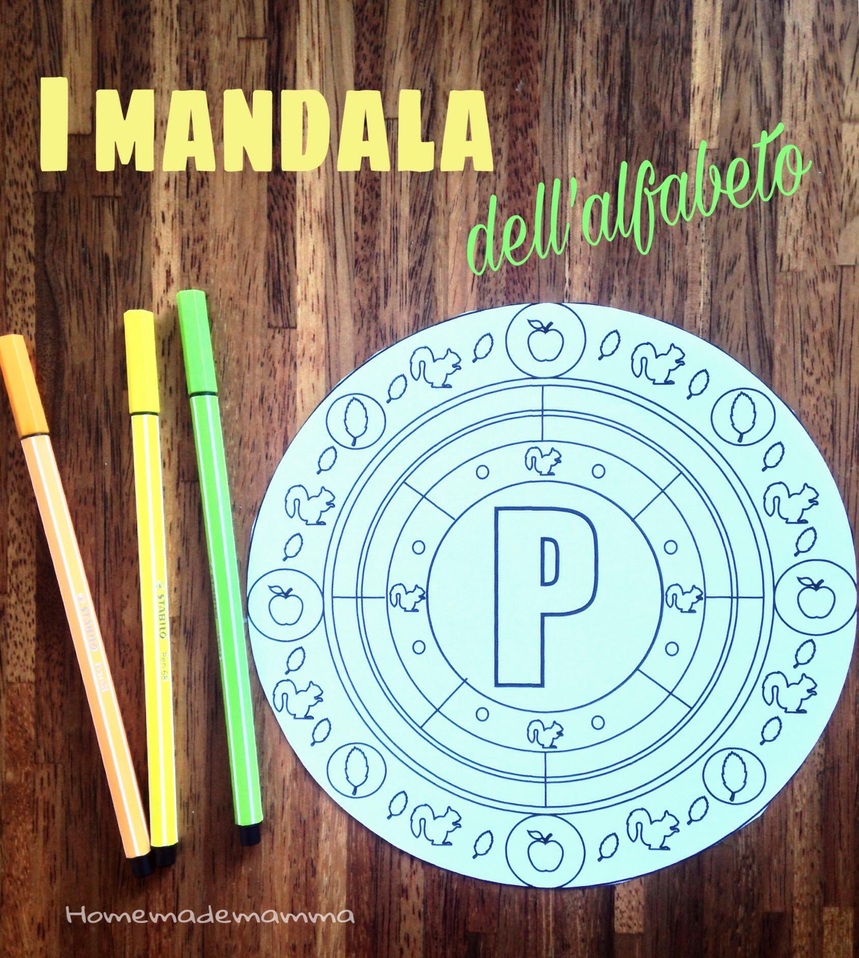 mandala alfabeto da colorare
