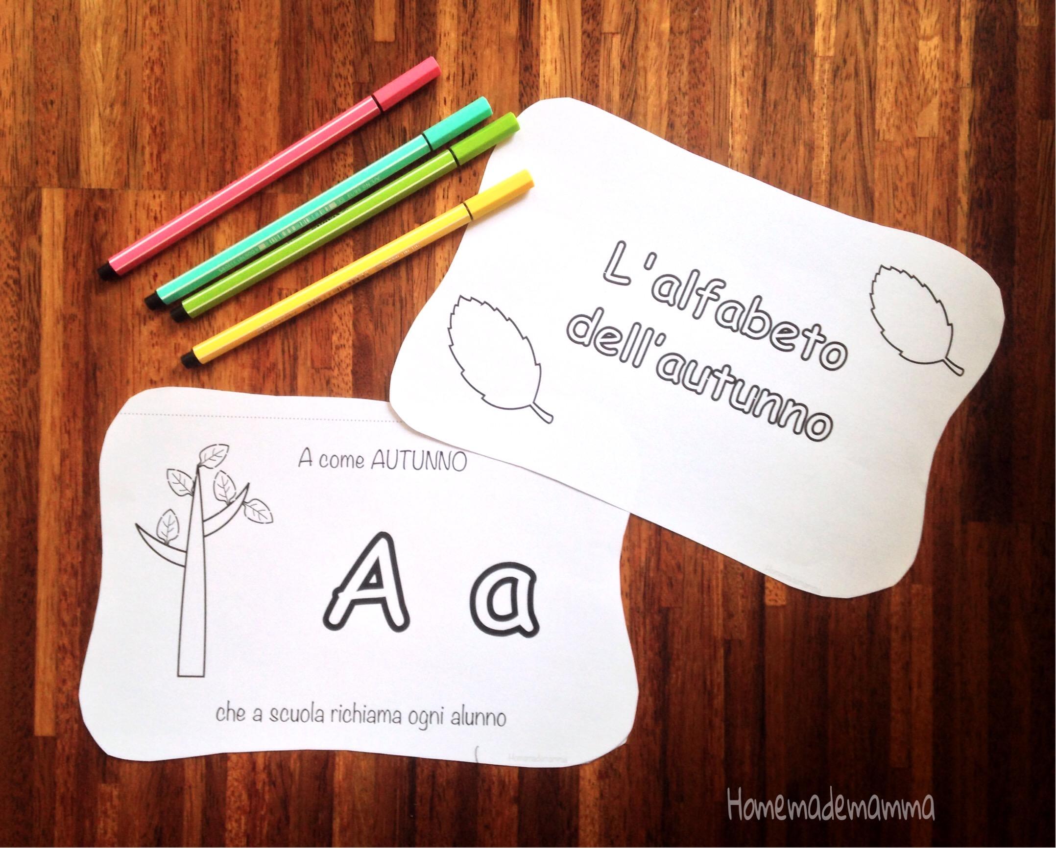 libro alfabeto autunno da colorare bambini