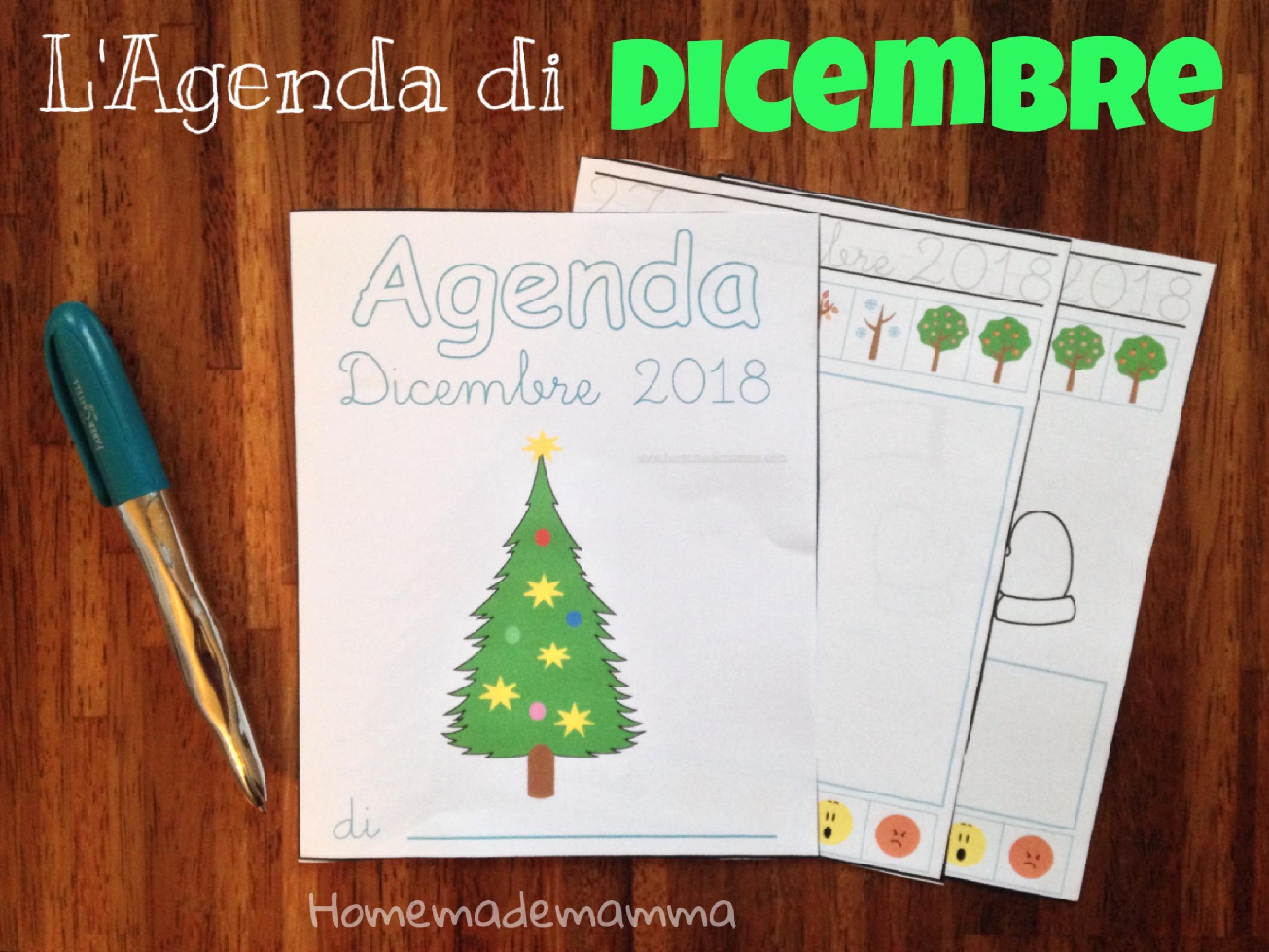 agenda dicembre bambini da stampare