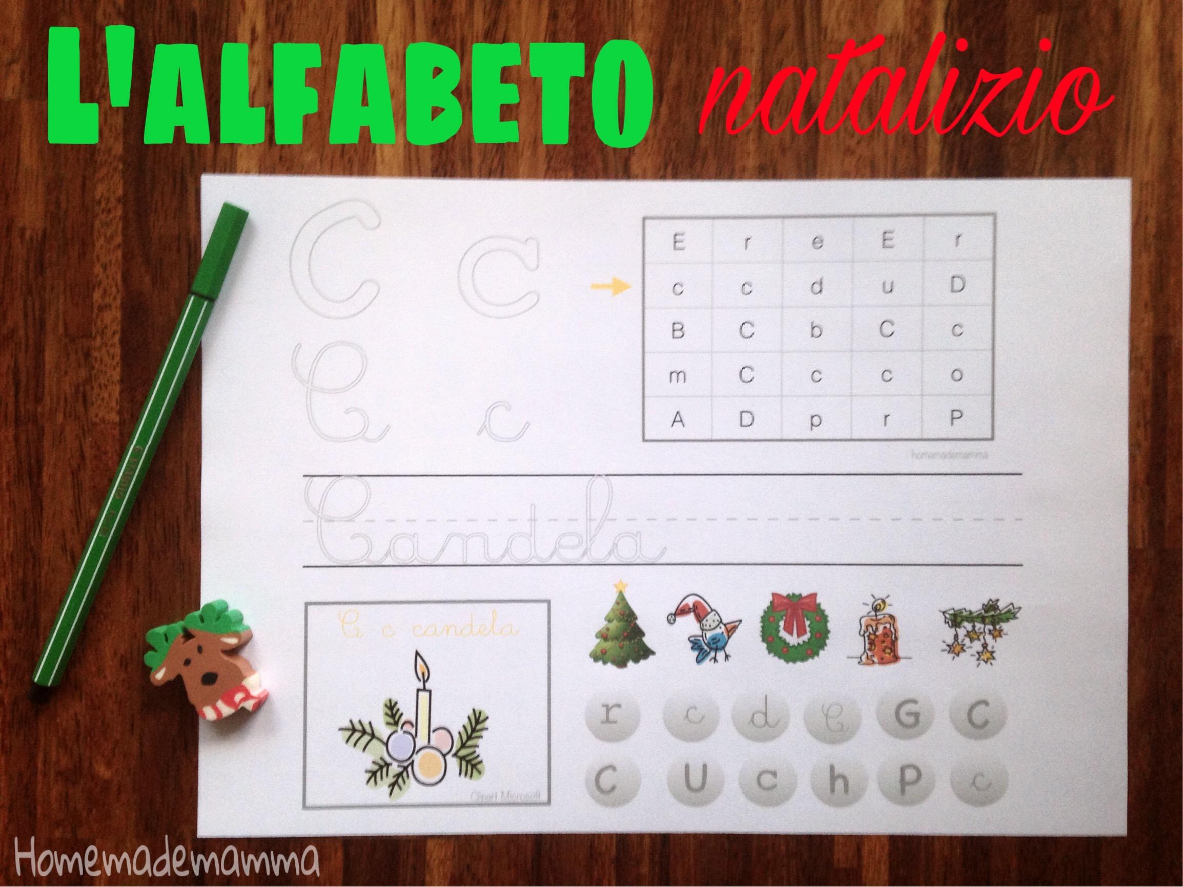 schede imparare l'alfabeto natale