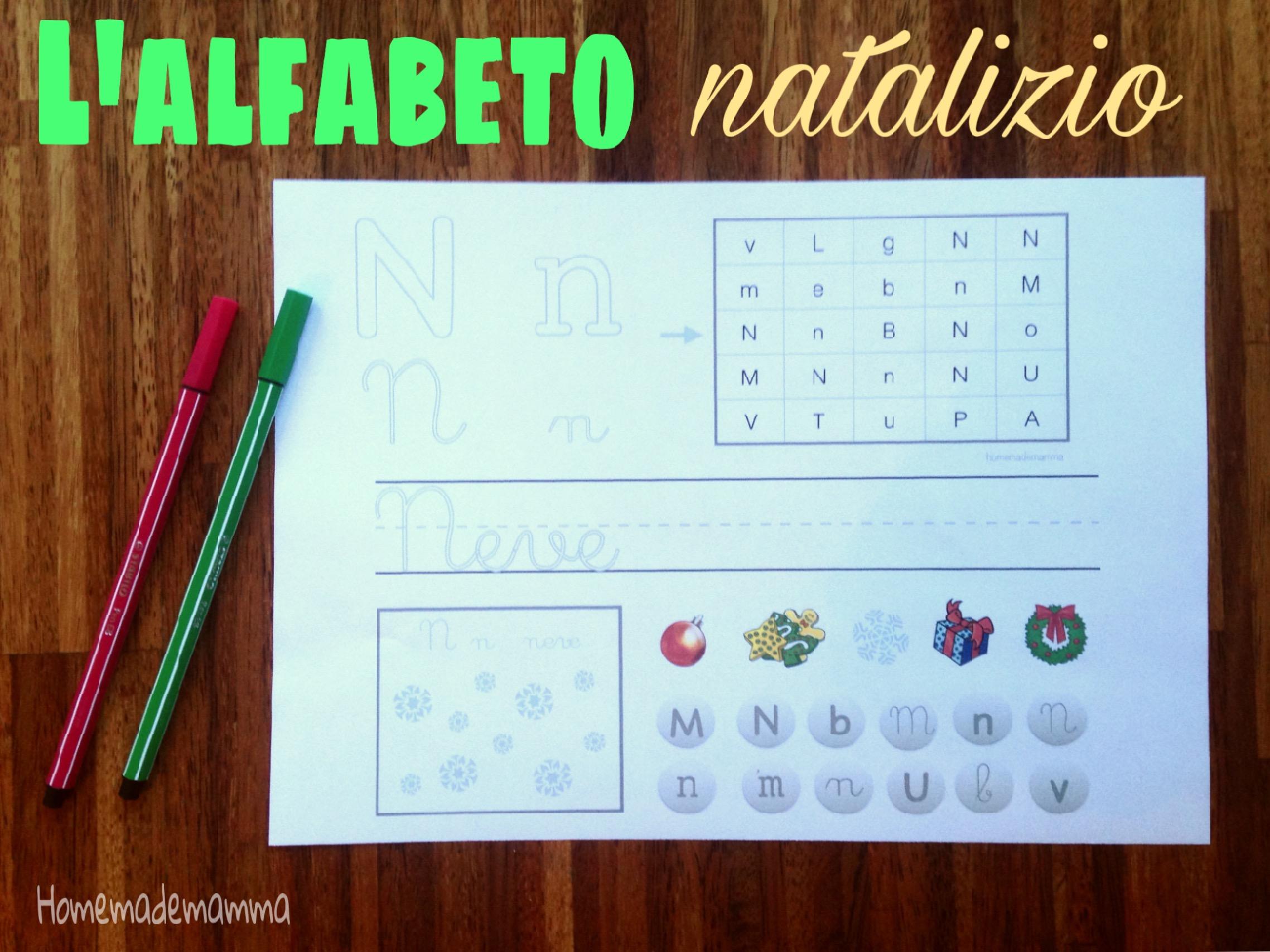 alfabeto natale schede