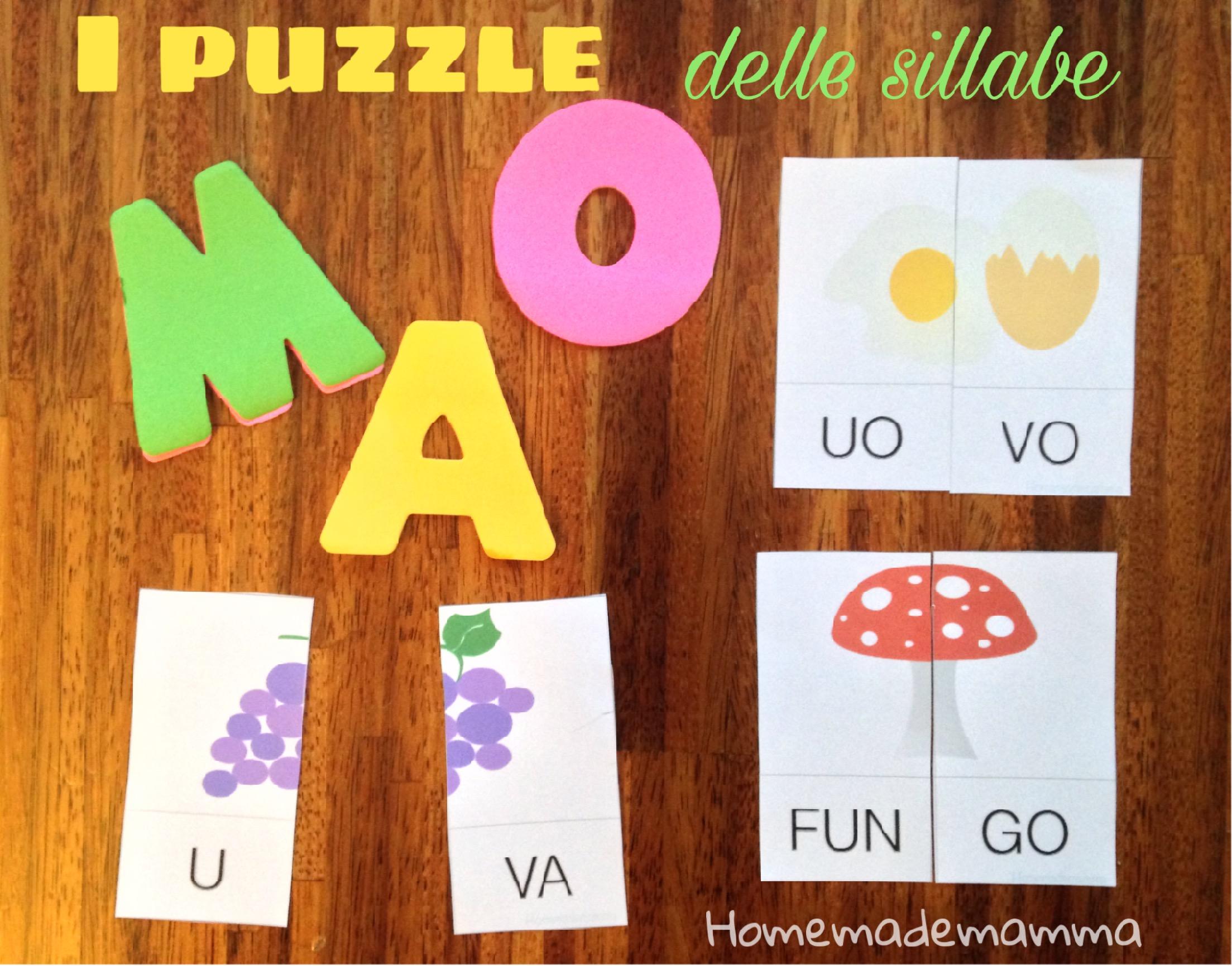 puzzle per imparare la divisione in sillabe stampare