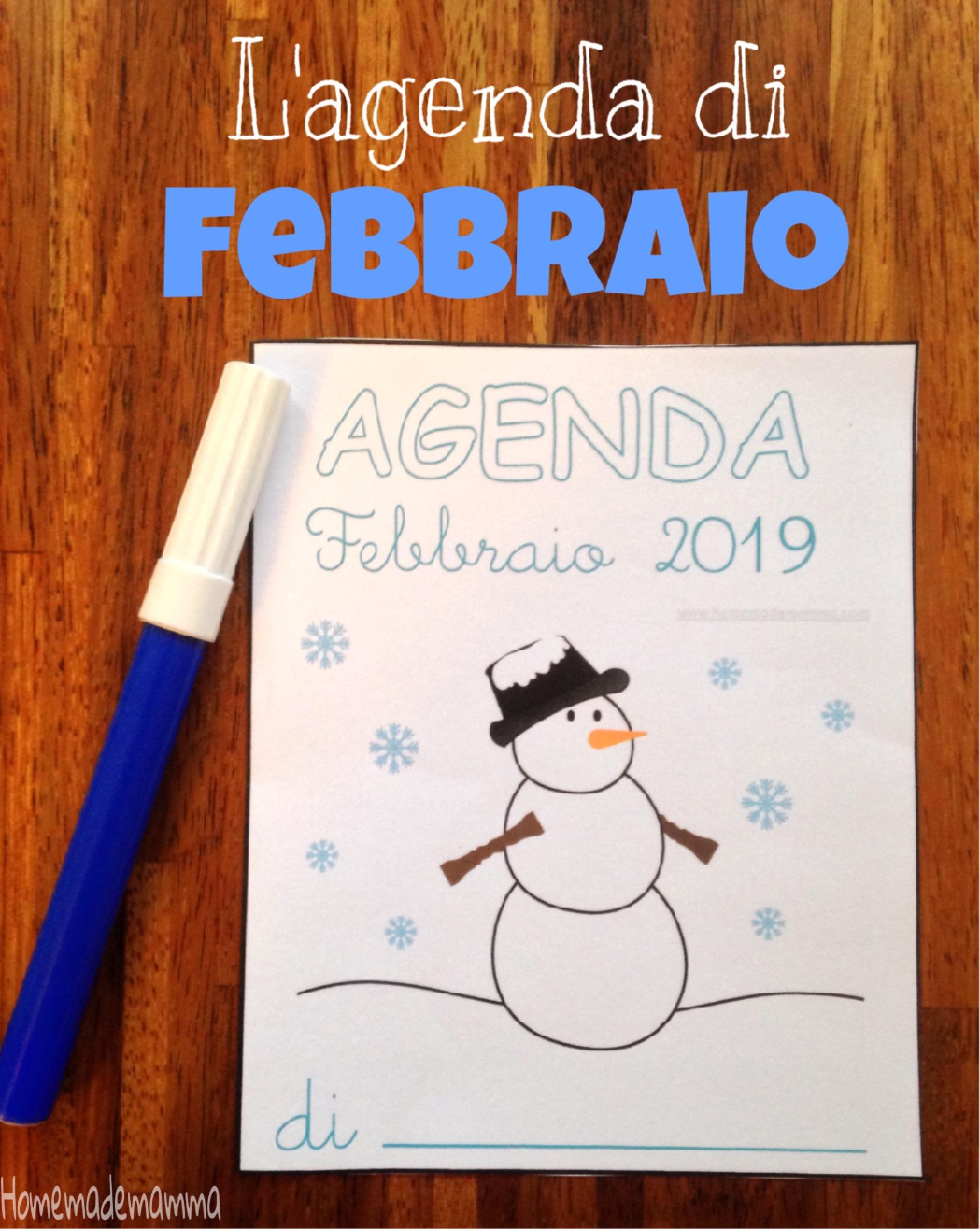 agenda febbraio 2019 bambini da stampare