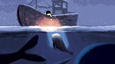 la balena nella tempesta