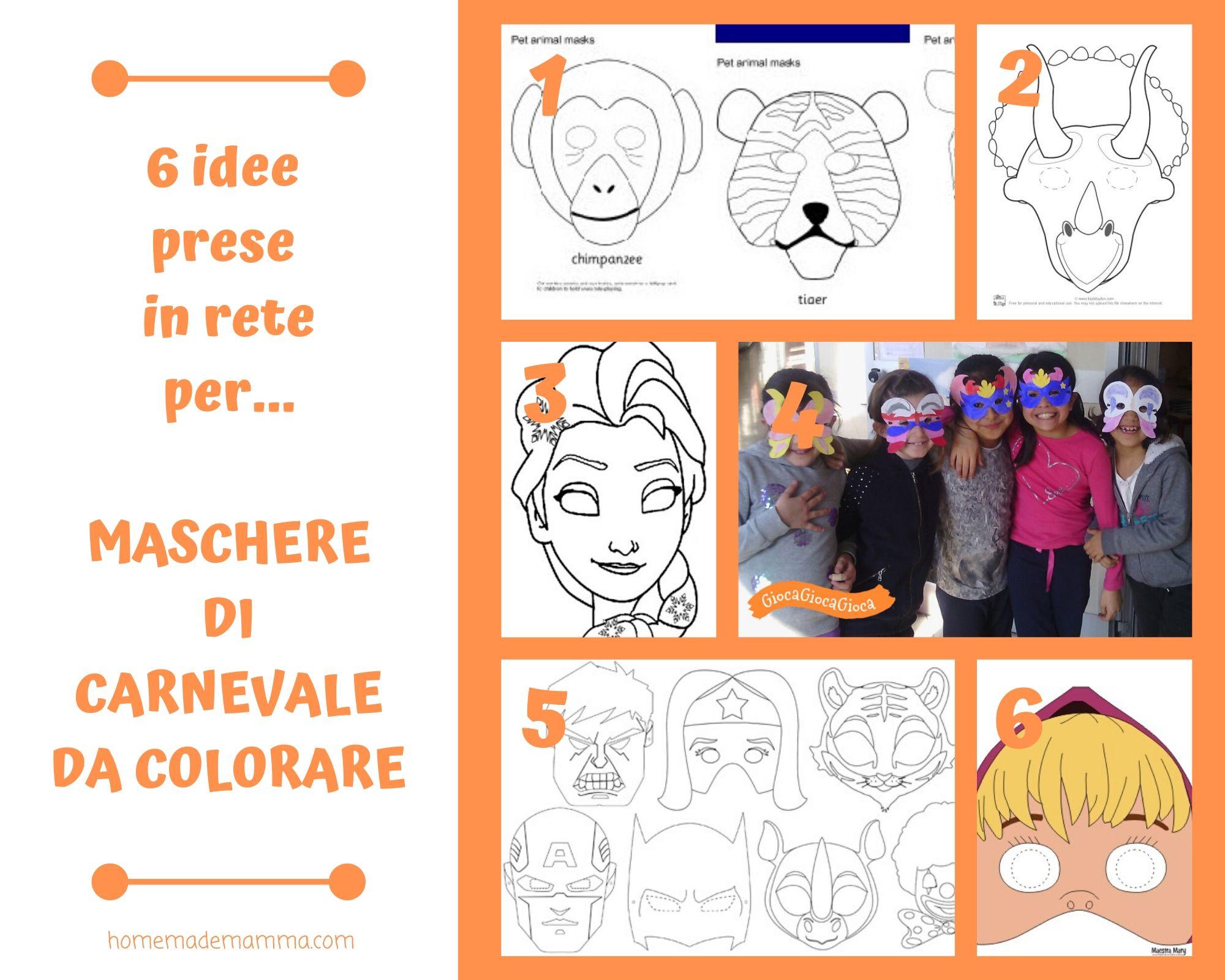 6 Idee Prese In Rete Per Maschere Di Carnevale Da Colorare